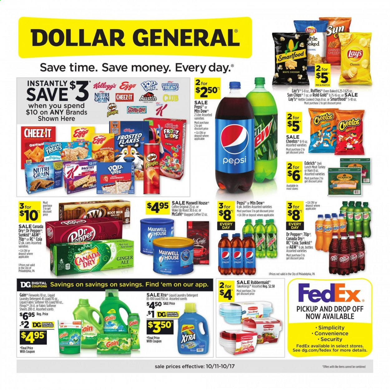 Dollar General Flyer - 10.11.2020 - 10.17.2020 - Sales products - ale, beer, canada dry, detergent, dolce & gabbana, gain, ginger, lunchmeat, maxwell house, maxwell house coffee, rice, sink, turkey, ham, philadelphia, pringles, puffs, cheddar, cheetos, pepsi, oven, chips, pepper, softener, lay's, flakes, strawberry, liquid, treats, meat, laundry detergent, roast, kettle. Page 1.