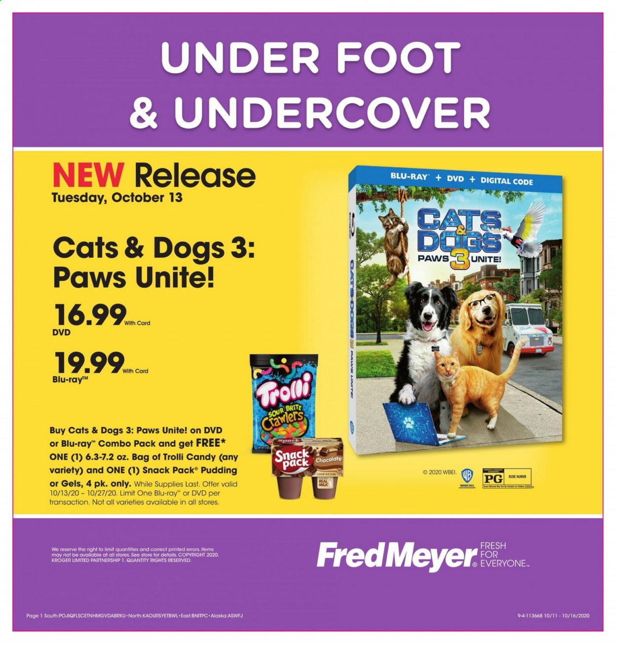 Fred Meyer Flyer - 10.11.2020 - 10.16.2020 - Sales products - blu-ray, dvd, milk, pudding, chocolate, candy, snack, trolli. Page 1.