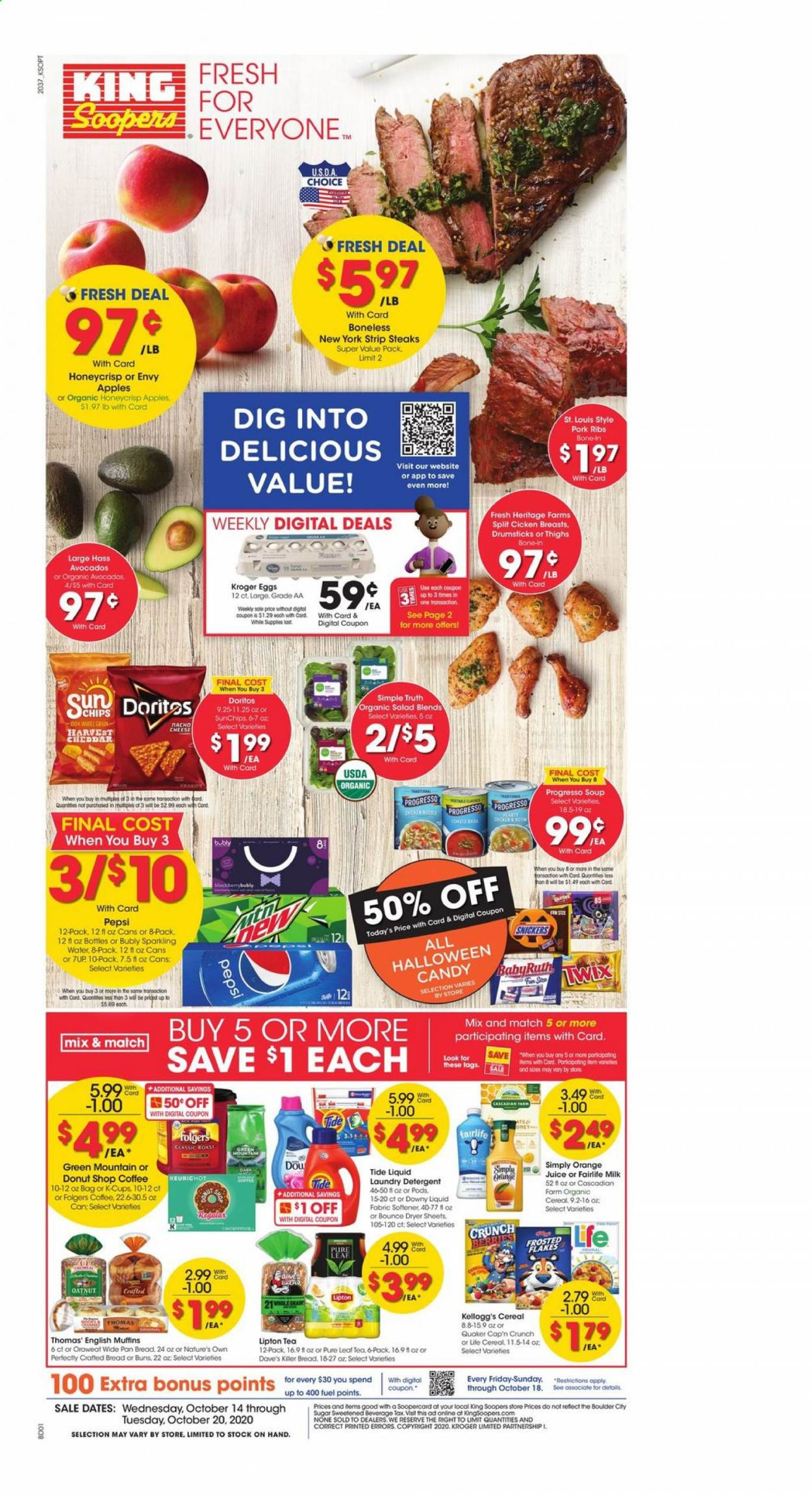 King Soopers Flyer - 10.14.2020 - 10.20.2020 - Sales products - apples, avocado, bread, cap, cereals, coffee, detergent, Doritos, Downy, eggs, english muffins, Ford, fuel, milk, muffins, sugar, tea, Tide, pork meat, pork ribs, cheddar, pan, Pepsi, orange juice, orange, chips, cheese, juice, candy, soup, sparkling water, softener, Lipton, salad, flakes, ribs, Snickers, laundry detergent, Folgers, Apple, donut. Page 1.