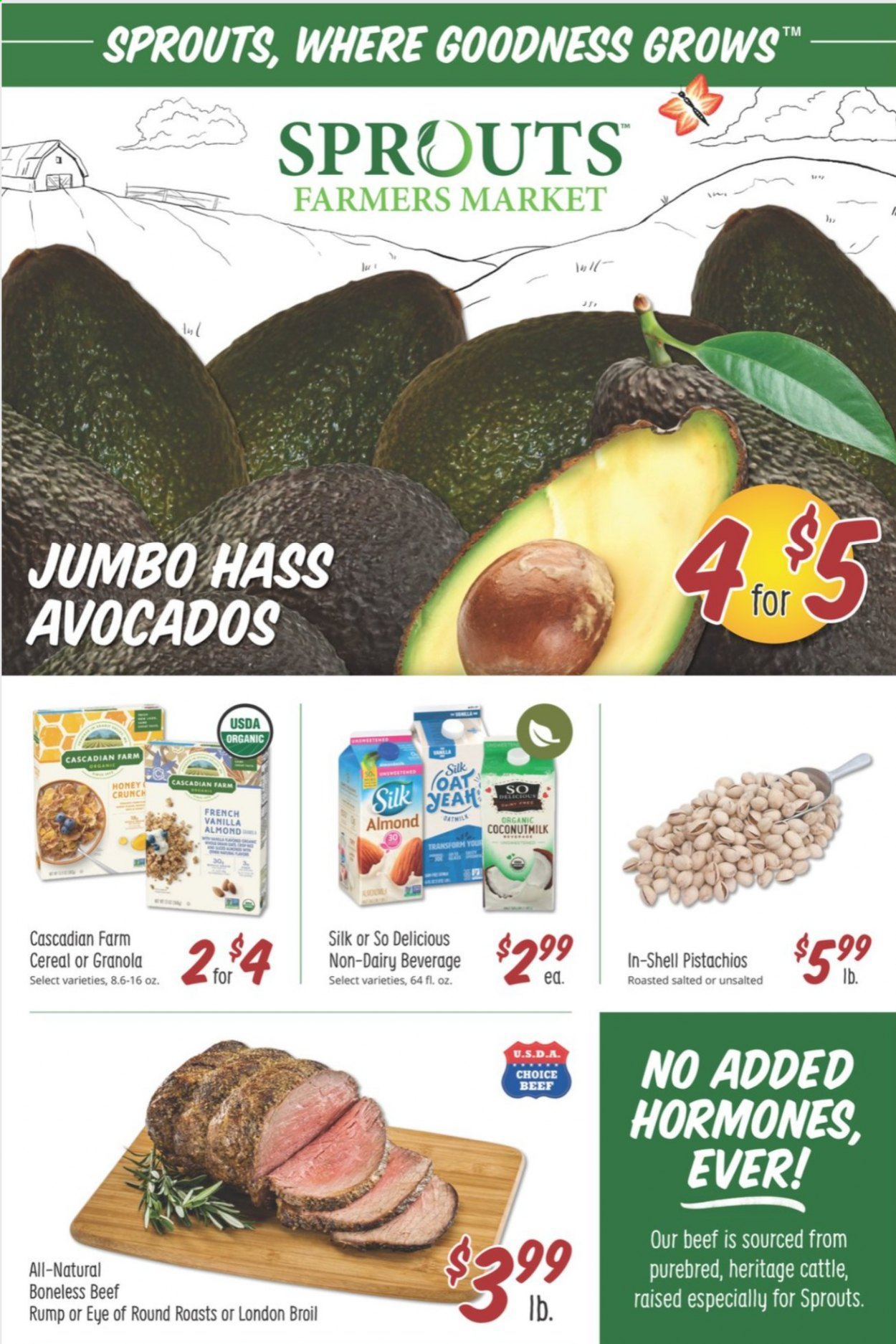 Sprouts Flyer - 10.14.2020 - 10.20.2020 - Sales products - avocado, beef meat, cereals, granola, shell, honey, organic, cereal. Page 1.