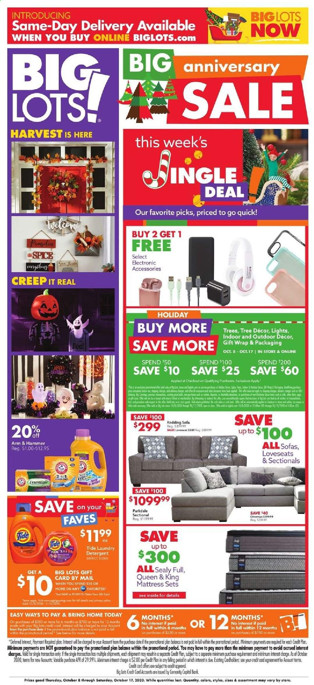 Big Lots Flyer - 10.08.2020 - 10.17.2020 - Sales products - ARM & HAMMER, bed, detergent, mattress, sofa, Tide, hammer, gift wrap, laundry detergent, hůll, essentials. Page 1.