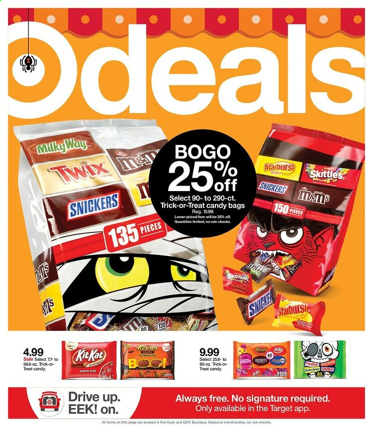 Target Flyer - 10.18.2020 - 10.24.2020 - Sales products - candy, Snickers, Twix, snack. Page 1.