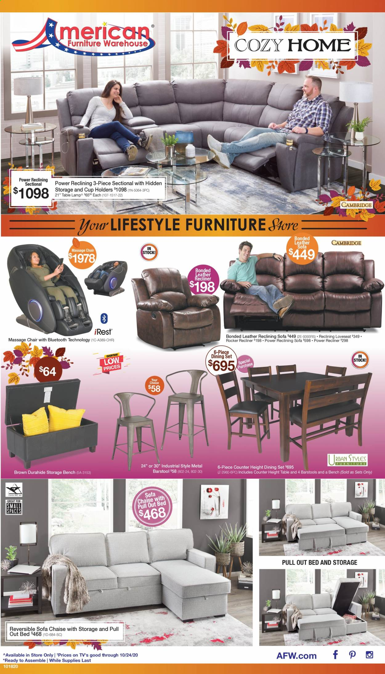 American Furniture Warehouse Flyer - 10.18.2020 - 10.24.2020 - Sales products - 3-piece sectional, bed, Bench, dining set, Furniture, lamp, leather sofa, loveseat, sofa, storage bench, chair, chaise, rocker, table lamp. Page 1.