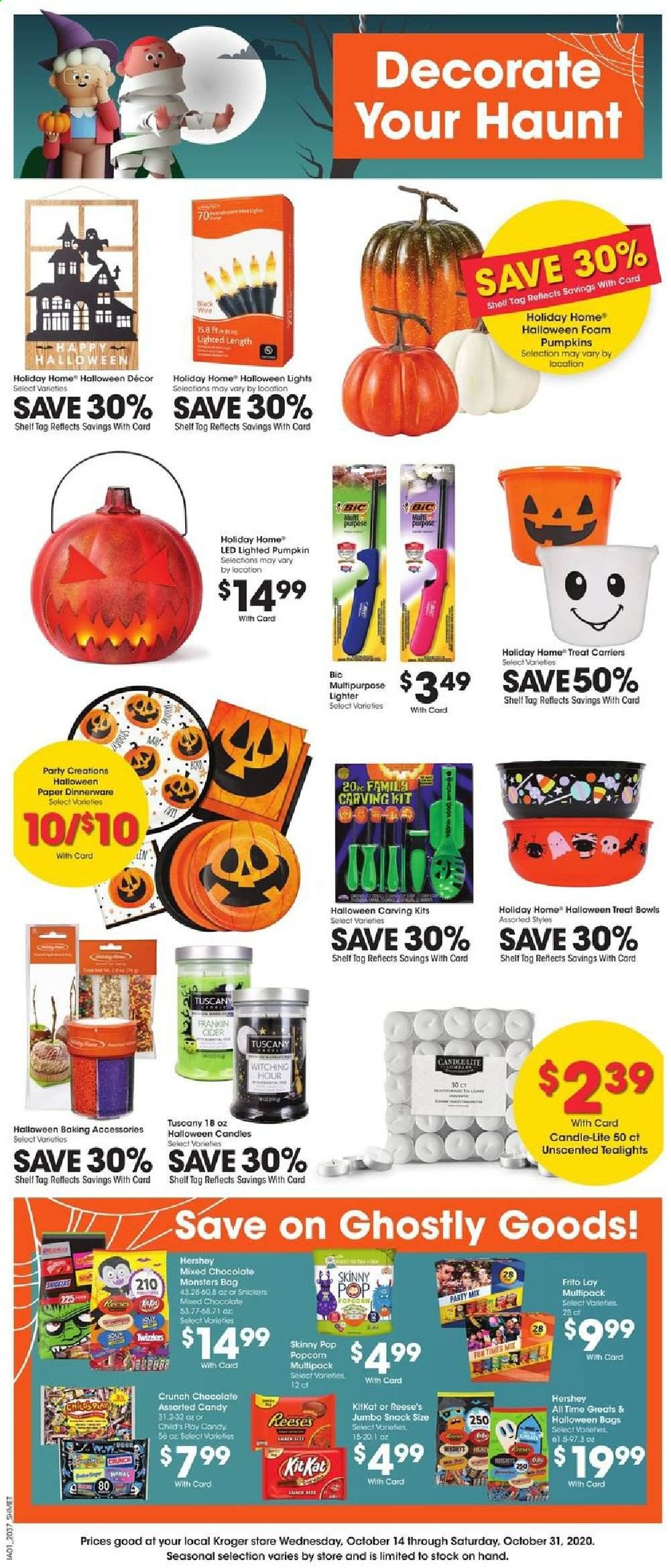 Kroger Flyer - 10.14.2020 - 10.31.2020 - Sales products - bag, bic, bowl, candle, foam, shelf, shell, popcorn, pumpkin, chocolate, candy, snack, reese, snickers, dinnerware, baking accessories, kitkat, led. Page 1.