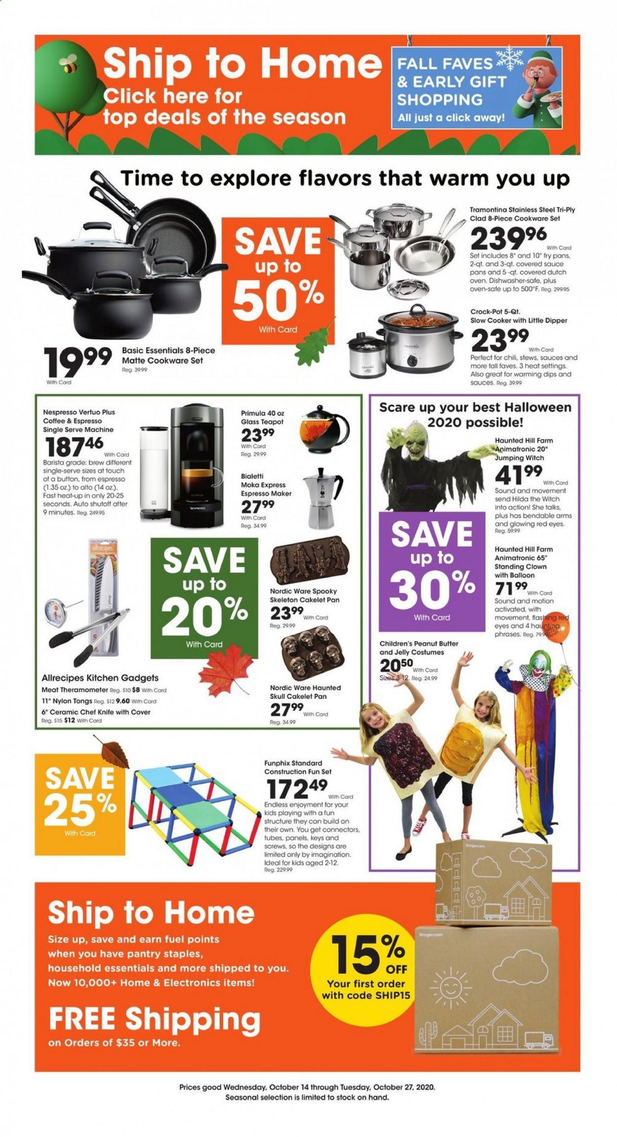 Kroger Flyer - 10.14.2020 - 10.27.2020 - Sales products - cod, jelly, sauce, peanut butter, coffee, Nespresso, cookware set, knife, teapot, pot, pan, glass, oven, dishwasher, slow cooker, tong, fuel, essentials. Page 1.