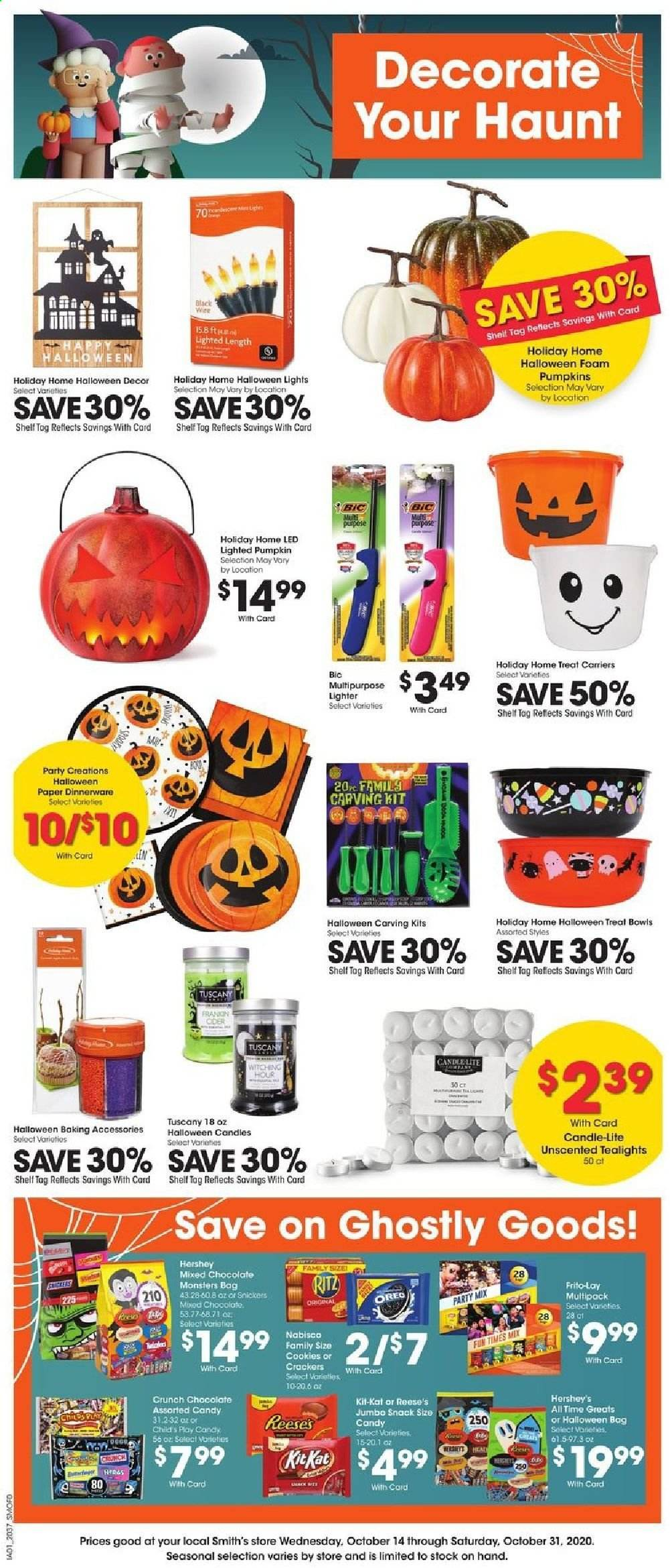 Smith's Flyer - 10.14.2020 - 10.31.2020 - Sales products - bag, bic, bowl, candle, cookies, crackers, foam, shelf, pumpkin, oreo, chocolate, candy, snack, reese, ritz, snickers, dinnerware, baking accessories, led. Page 1.