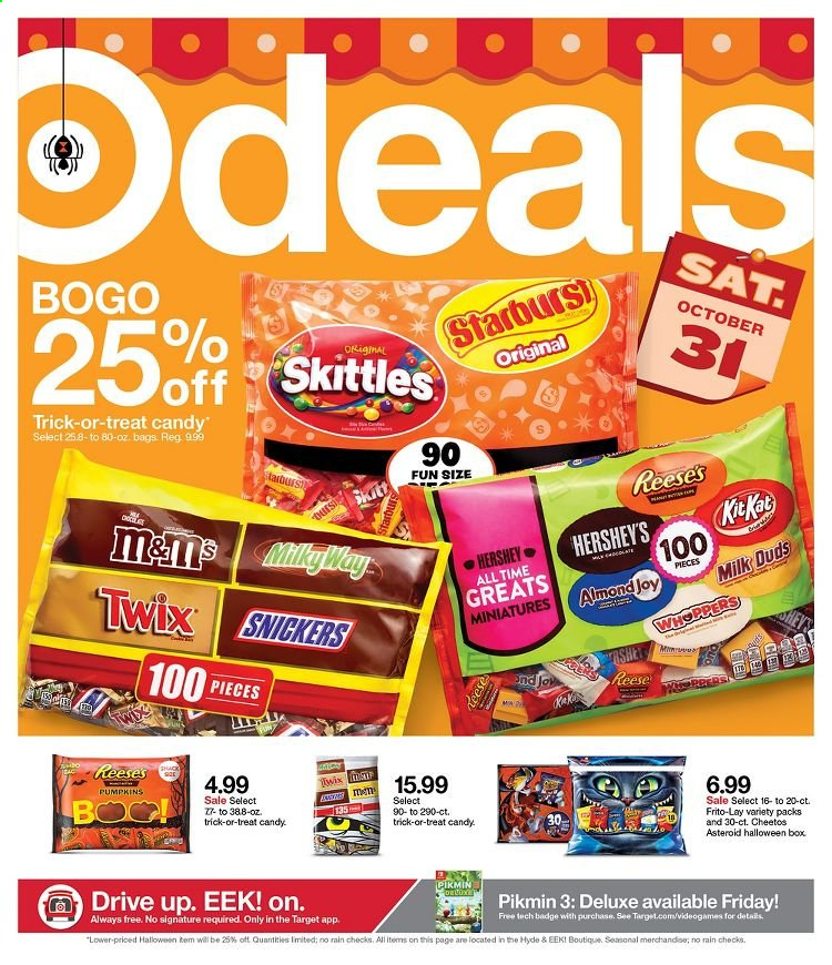 Target Flyer - 10.25.2020 - 10.31.2020 - Sales products - always, bag, box, cheetos, candy, reese, milk duds, snickers, twix, target. Page 1.