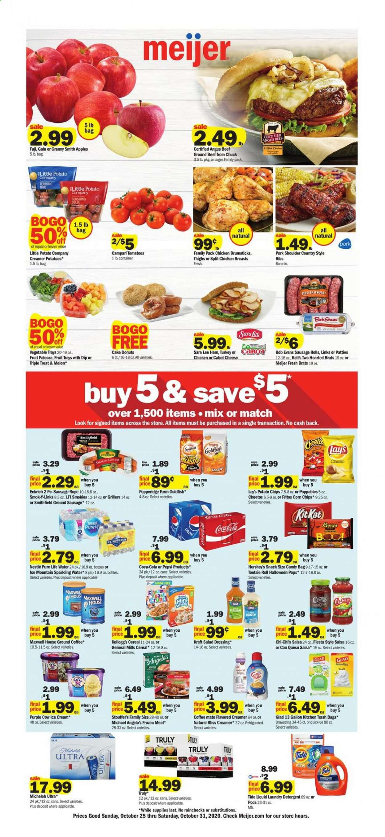 Meijer Flyer - 10.25.2020 - 10.31.2020 - Sales products - apples, beef meat, beer, bratwurst, cereals, coca-cola, coffee, detergent, Fritos, frozen, ground beef, Maxwell House, Nestlé, rice, salad dressing, sausage, Tide, tie, tomatoes, turkey, ham, ice cream, Kitchen, pork meat, pork shoulder, potato chips, potatoes, cheddar, cheetos, chicken, chicken breast, Pepsi, chips, cheese, cake, candy, dressing, creamer, snack, sparkling water, salsa, Lee, Lay's, salad, ribs, Fruit, Michelob, KitKat, laundry detergent, Apple, donut, vegetable, trash bags, ground coffee, craft. Page 1.
