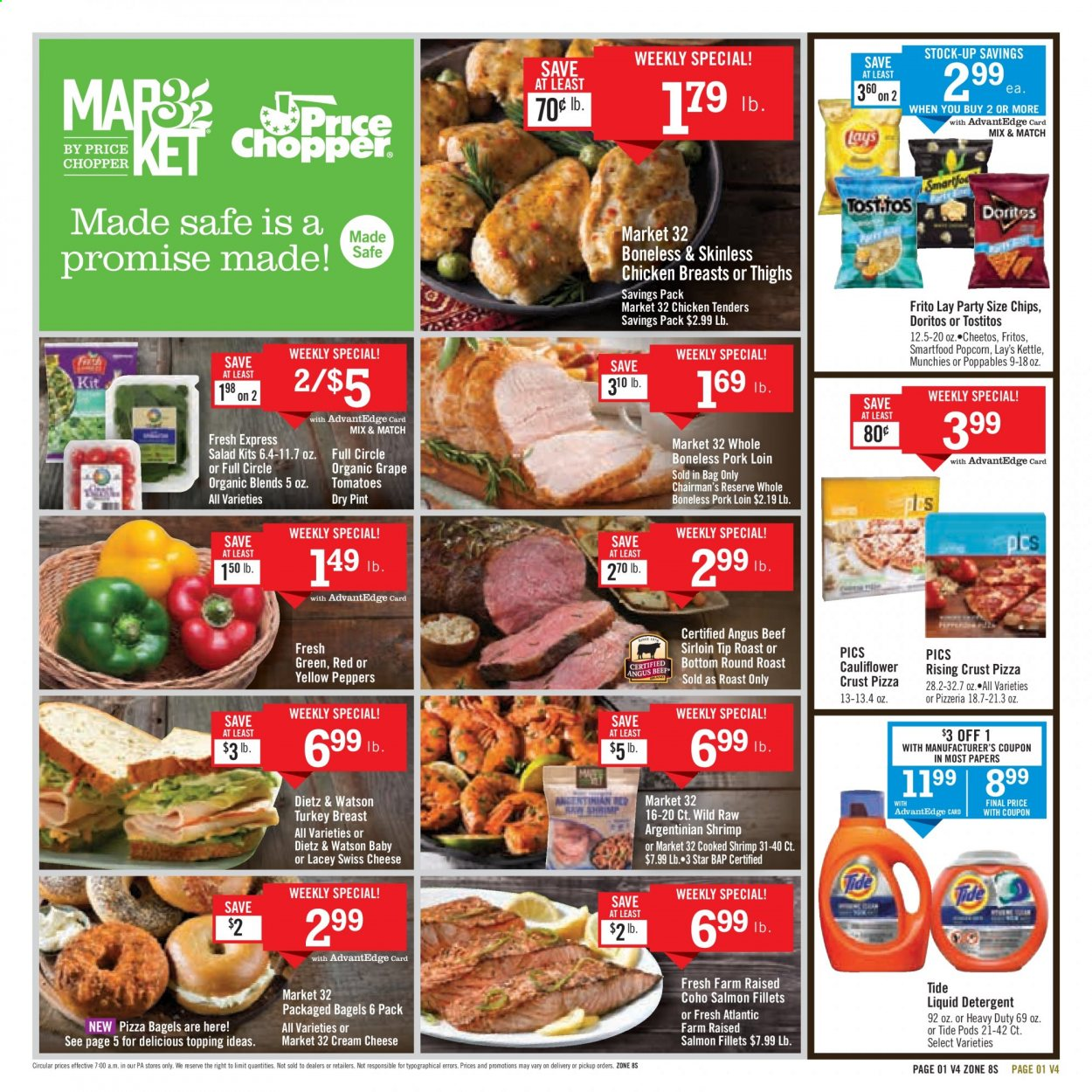 Price Chopper Flyer - 10.25.2020 - 10.31.2020 - Sales products - bagels, beef meat, beef sirloin, cauliflower, cream cheese, detergent, Doritos, Fritos, grapes, salmon, swiss cheese, Tide, tomatoes, turkey, turkey breast, pizza, pork loin, pork meat, cheetos, chicken, chicken breast, chicken tenders, chips, cheese, Lay's, salad, topping, liquid detergent, peppers, shrimps, kettle, heavy duty. Page 1.
