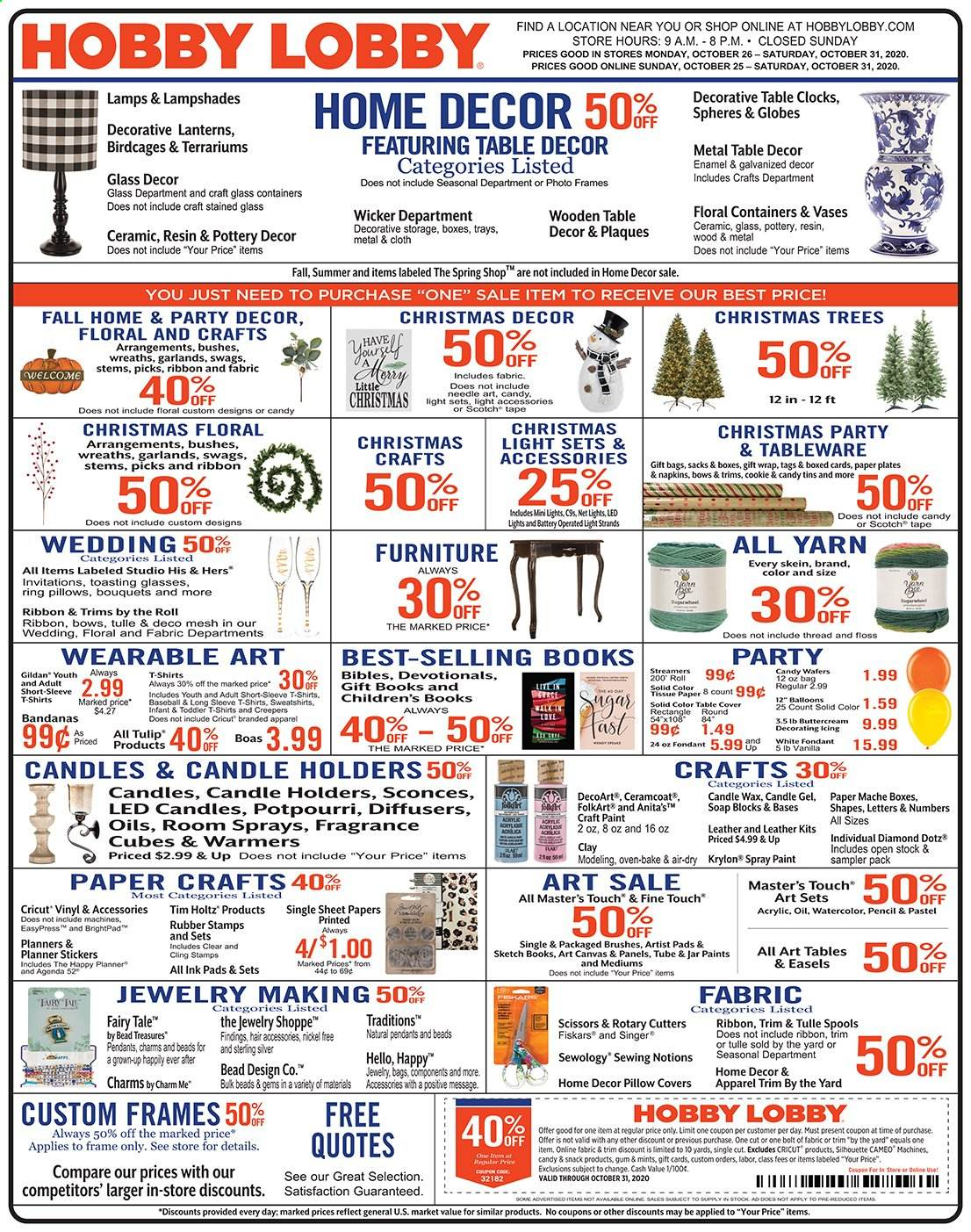 Hobby Lobby Flyer 10 25 2020 10 31 2020 Page 1 Weekly Ads