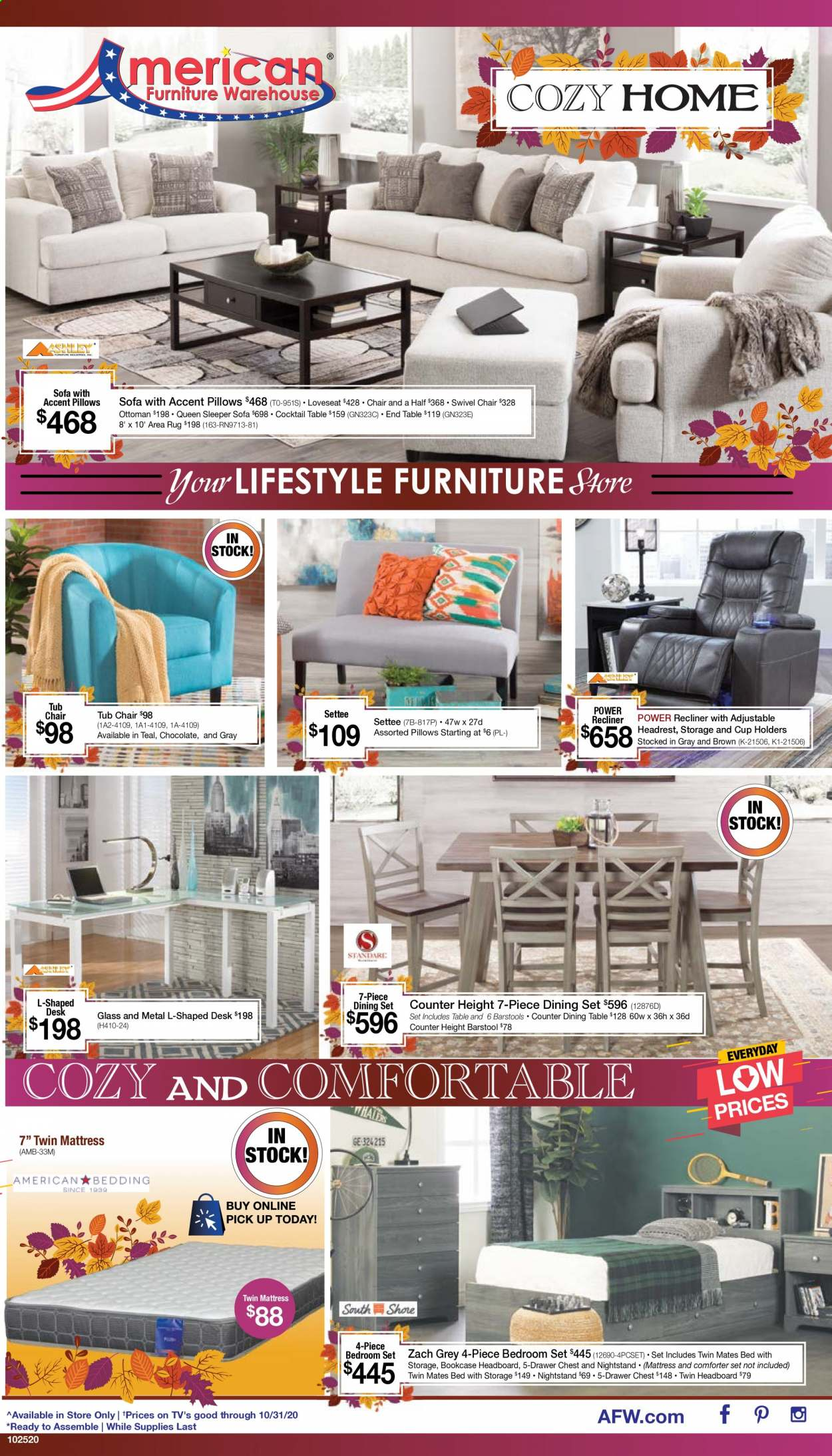 American Furniture Warehouse Flyer - 10.25.2020 - 10.31.2020 - Sales products - dining set, dining table, chair, bar stool, loveseat, sofa, swivel chair, recliner chair, end table, bookcase, ottoman, bed, headboard, mattress, nightstand, comforter, pillow, rug, area rug. Page 1.
