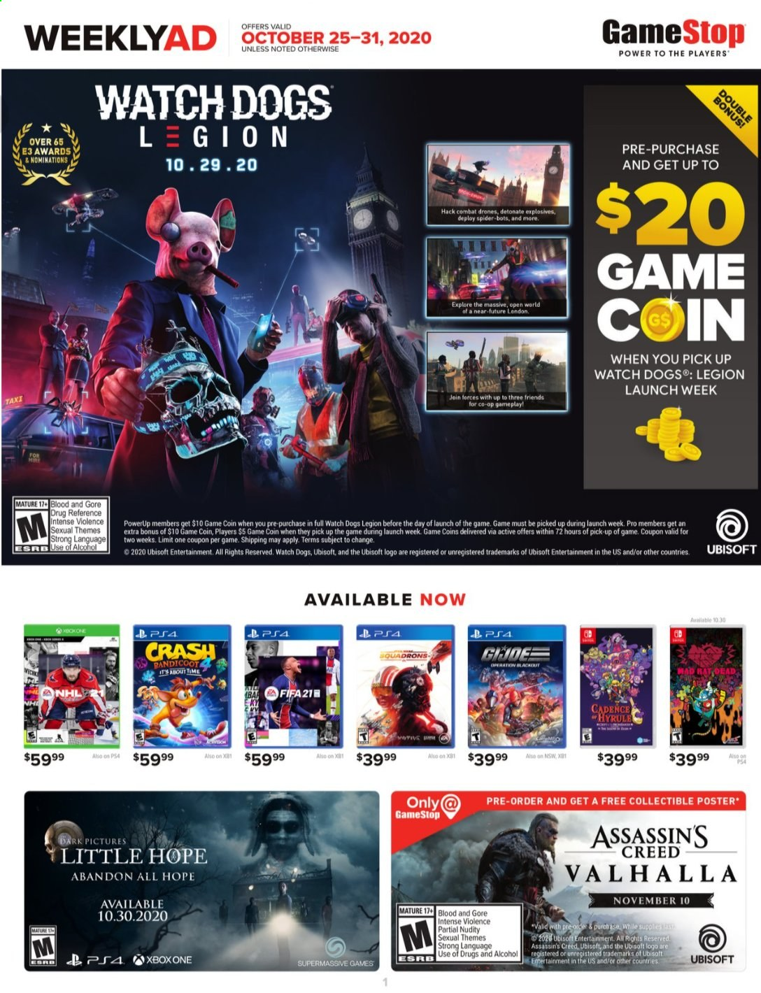 GameStop Flyer - 10.25.2020 - 10.31.2020 - Sales products - drone, watch, Xbox One, Game, Xbox, spider. Page 1.