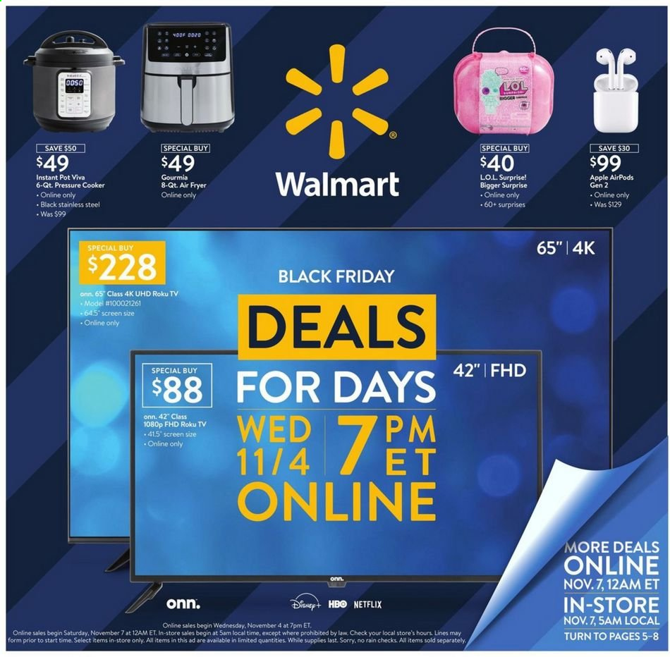 Walmart Flyer - 11.04.2020 - 11.08.2020 - Sales products - Disney, fryer, roku tv, pot, pressure cooker, air fryer, Instant Pot, apple airpods. Page 1.