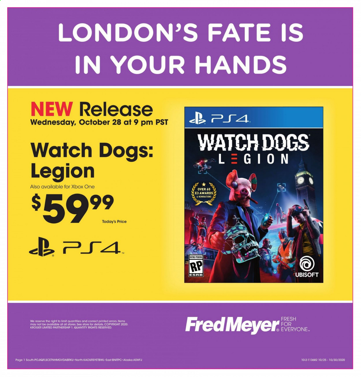 Fred Meyer Flyer - 10.28.2020 - 10.30.2020 - Sales products - watch, xbox one, ps4, watch dogs, watch dogs: legion, xbox. Page 1.