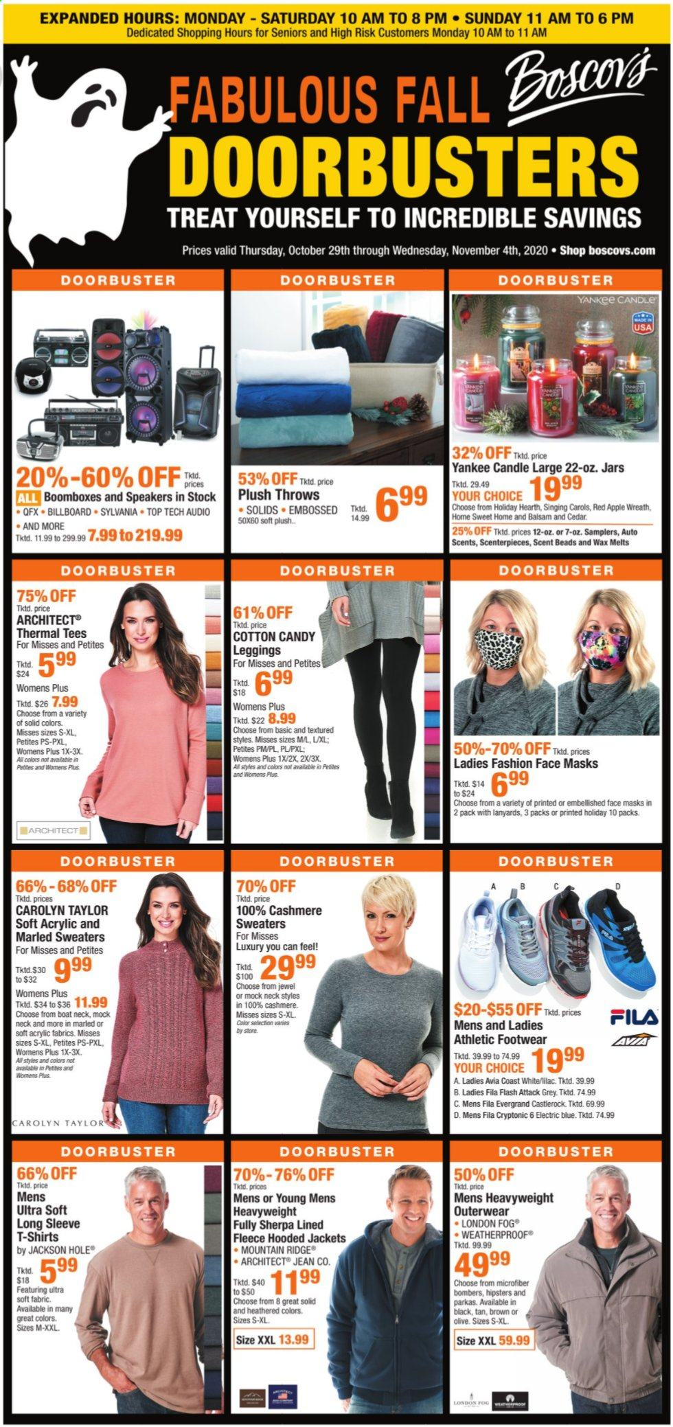 Boscov's Flyer - 10.29.2020 - 11.04.2020 - Sales products - apples, boat, candle, Fila, leggings, sherpa, shirt, solid, speaker, sylvania, tee, wreath, Yankee Candle, jacket, jar, parka, candy, Footwear, Apple, throws. Page 1.