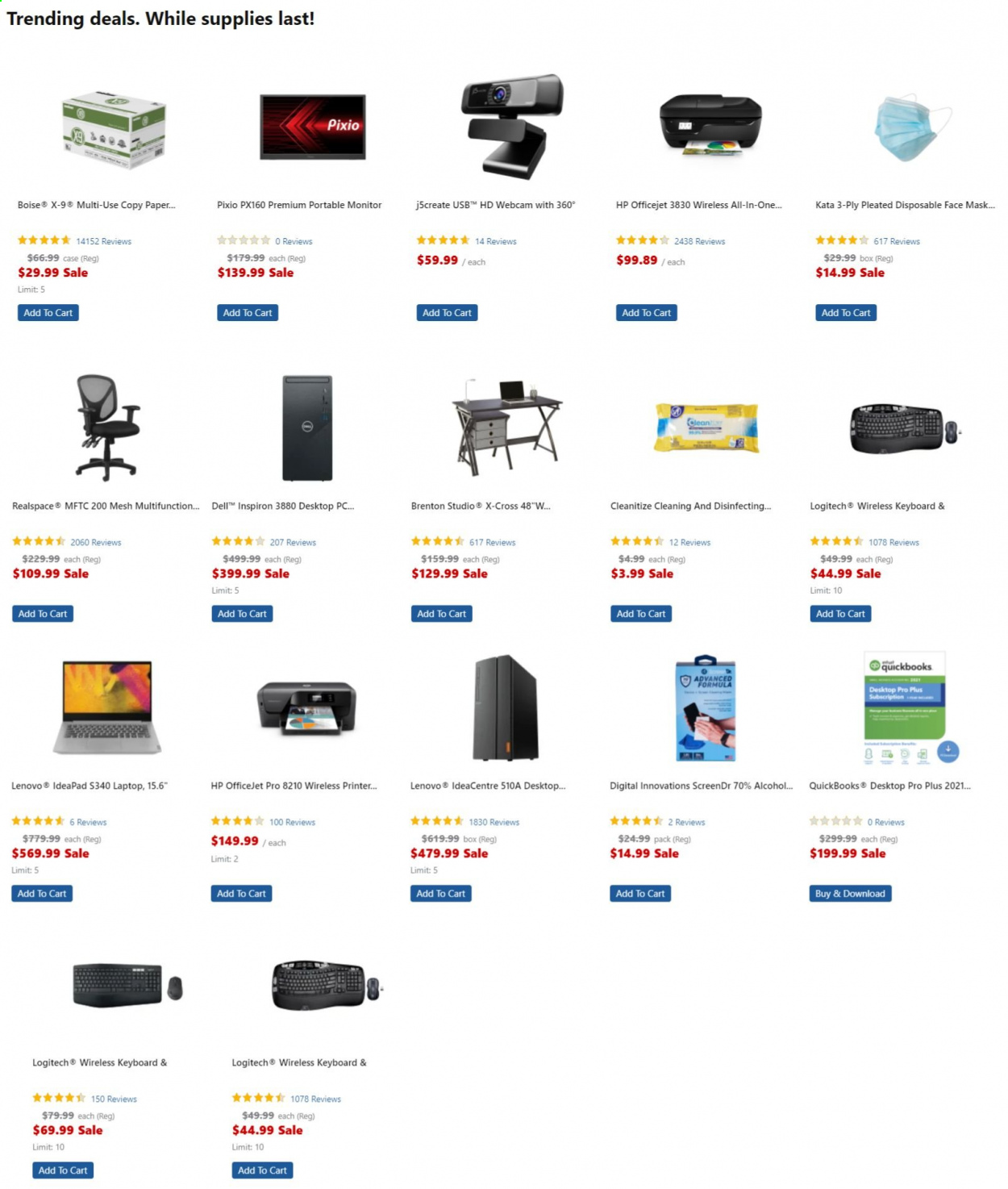 Office DEPOT Flyer - Sales products - box, cart, Dell, laptop, Lenovo, Logitech, mask, monitor, webcam, HP, keyboard, printer, officejet, all-in-one, Inspiron, face mask. Page 1.