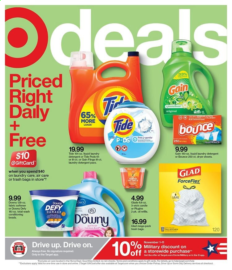 Target Flyer - 11.01.2020 - 11.07.2020 - Sales products - always, bag, bounce, candle, detergent, downy, dryer, gain, tide, trash bag, kitchen, softener, glade, liquid, laundry detergent, oil, target, trash bags. Page 1.