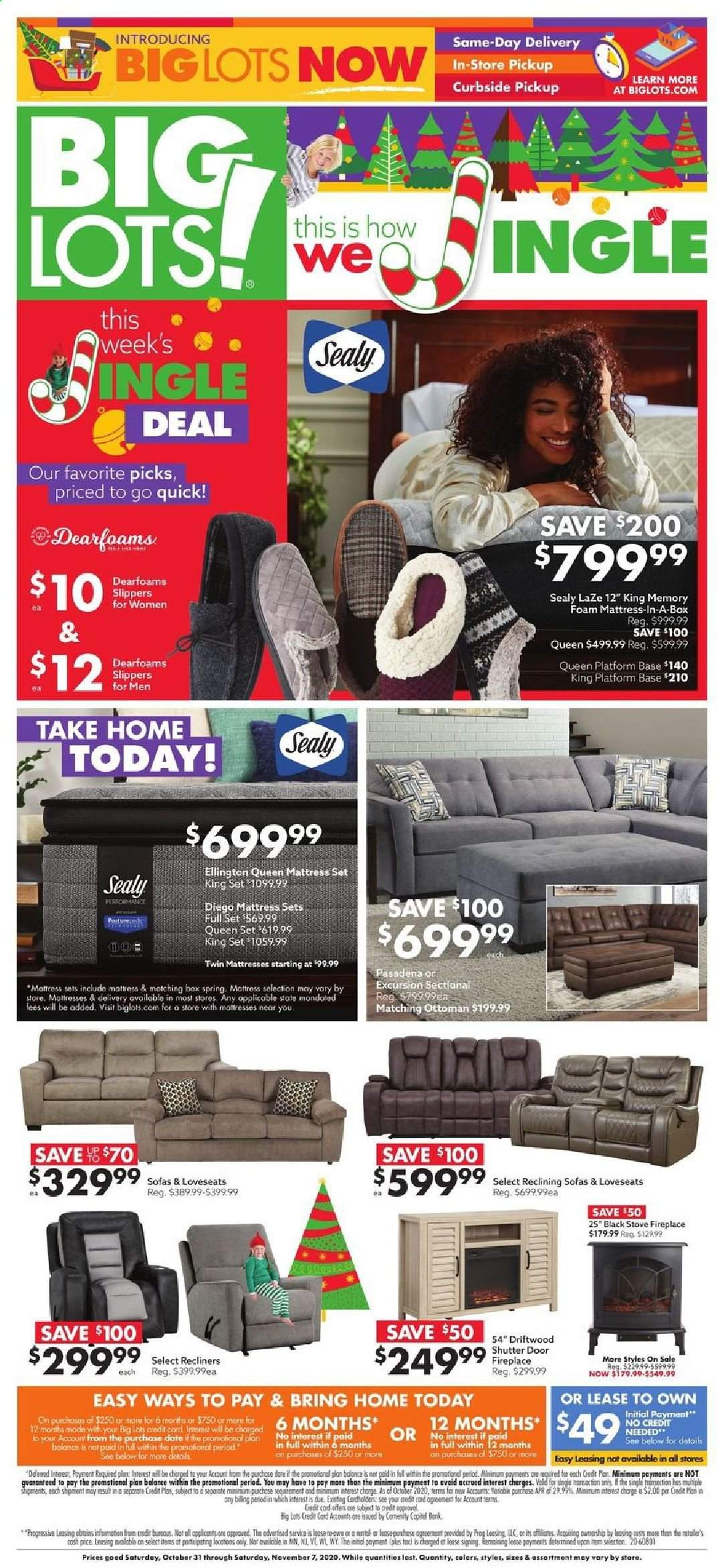 Big Lots Flyer - 10.31.2020 - 11.07.2020 - Sales products - box, door, fireplace, mattress, sectional, slippers, ottoman, stove, foam mattress, doors, spring. Page 1.