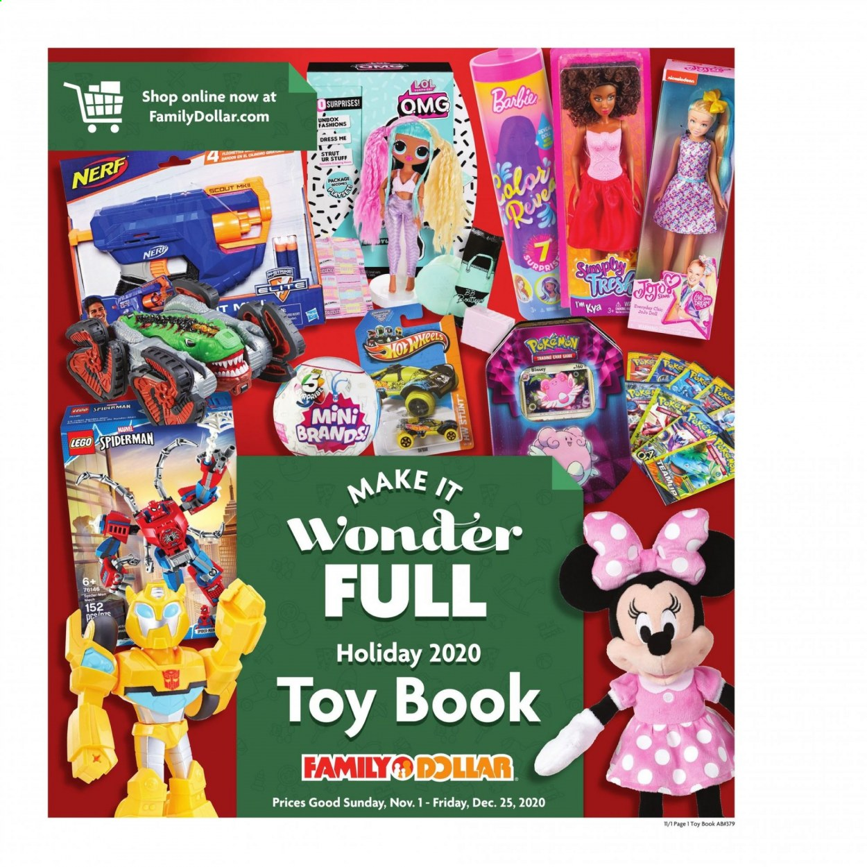 Family Dollar Flyer - 11.01.2020 - 12.25.2020 - Sales products - doll, dress, LEGO, Nerf, toys, Game, book, Marvel, spider, spider-man. Page 1.