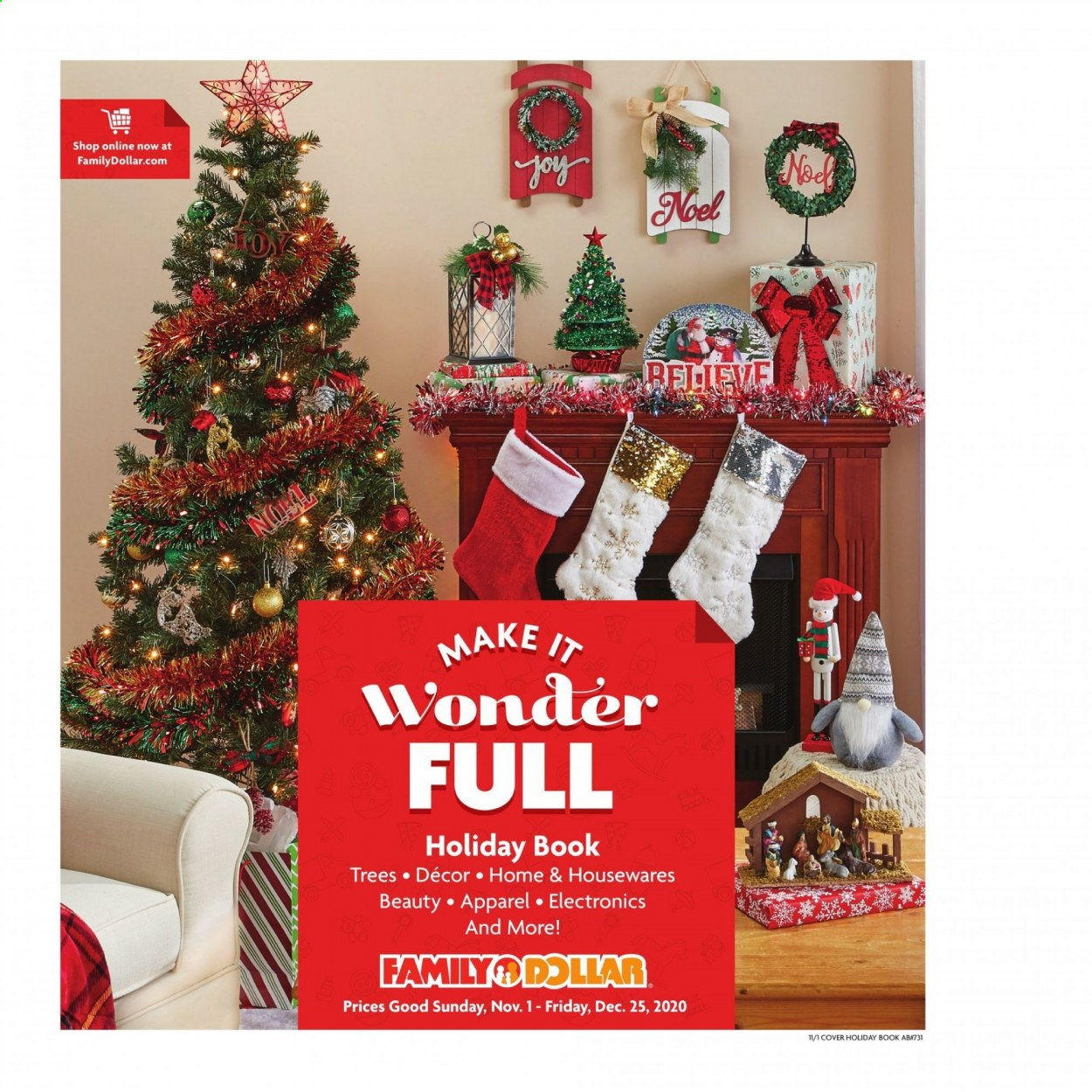 Family Dollar Flyer - 11.01.2020 - 12.25.2020 - Sales products - book. Page 1.