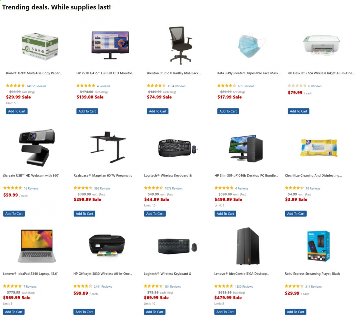 Office DEPOT Flyer - Sales products - box, cart, full hd, laptop, Lenovo, Logitech, Magellan, mask, monitor, webcam, HP, keyboard, officejet, all-in-one, deskjet, face mask. Page 1.