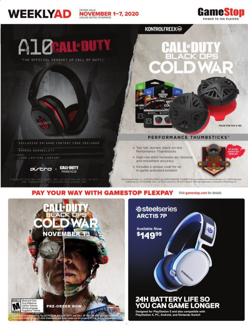 GameStop Flyer - 11.01.2020 - 11.07.2020 - Sales products - Nintendo Switch, PlayStation, PlayStation 4, PlayStation 5, headset. Page 1.