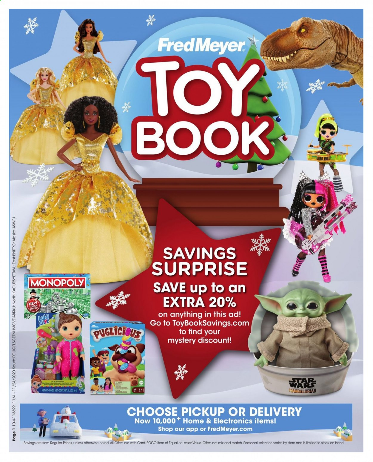 Fred Meyer Flyer - 11.04.2020 - 11.24.2020 - Sales products - monopoly, toys, book. Page 1.