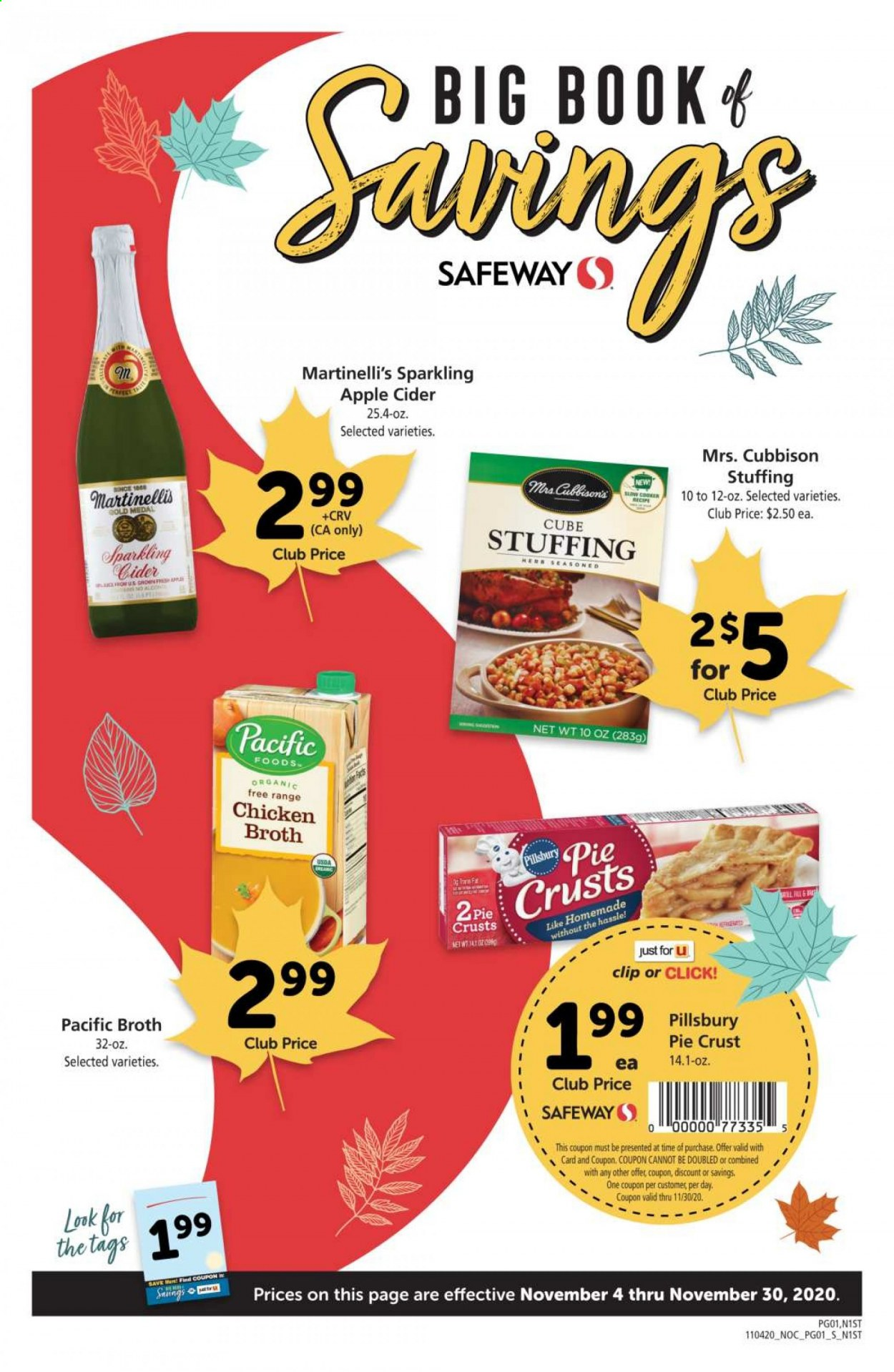 Safeway Flyer - 11.04.2020 - 11.30.2020 - Sales products - apple cider, sparkling cider, pie crust, chicken, pie, book, fa men. Page 1.