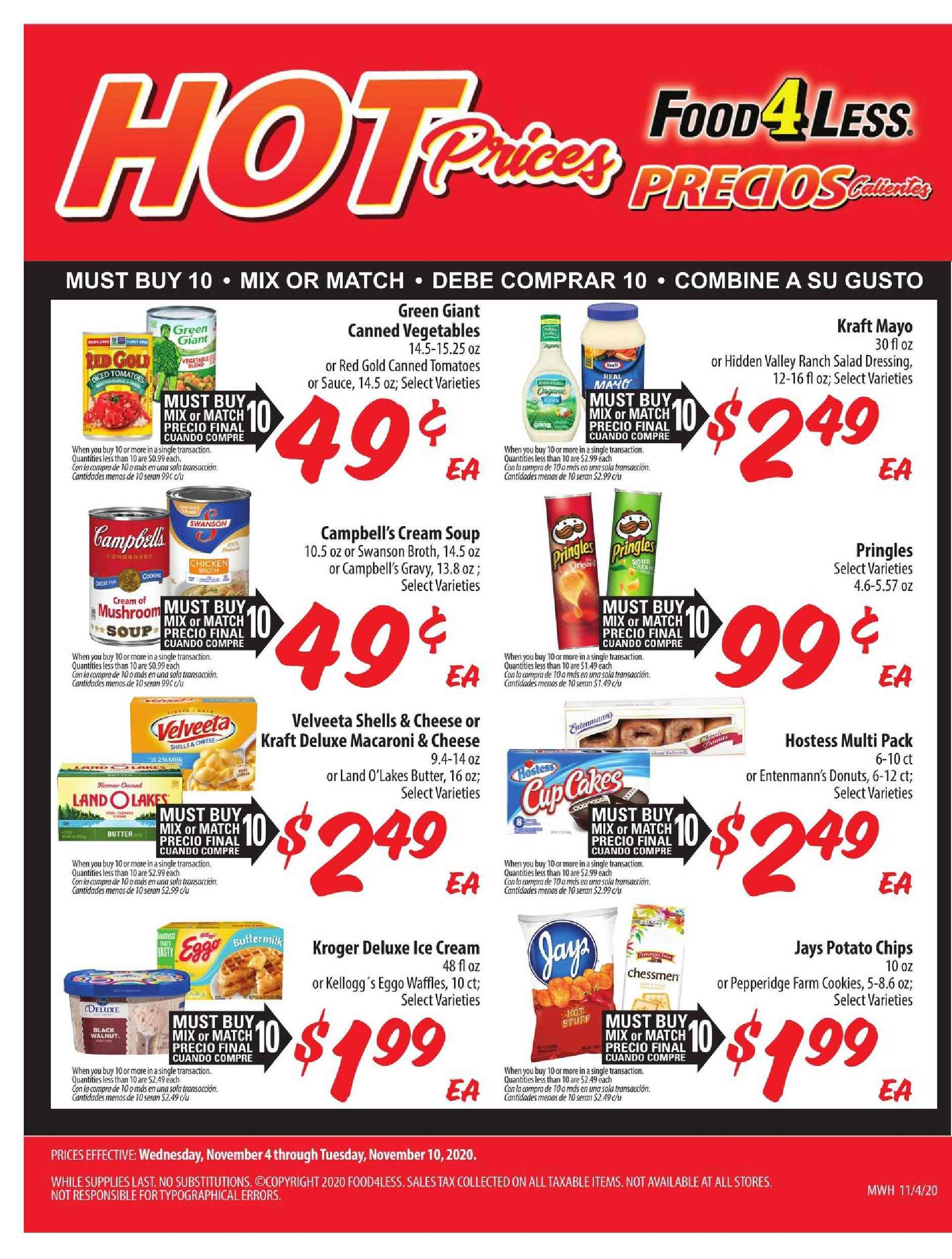 Food 4 Less Flyer  - 11.04.2020 - 11.10.2020. Page 1.