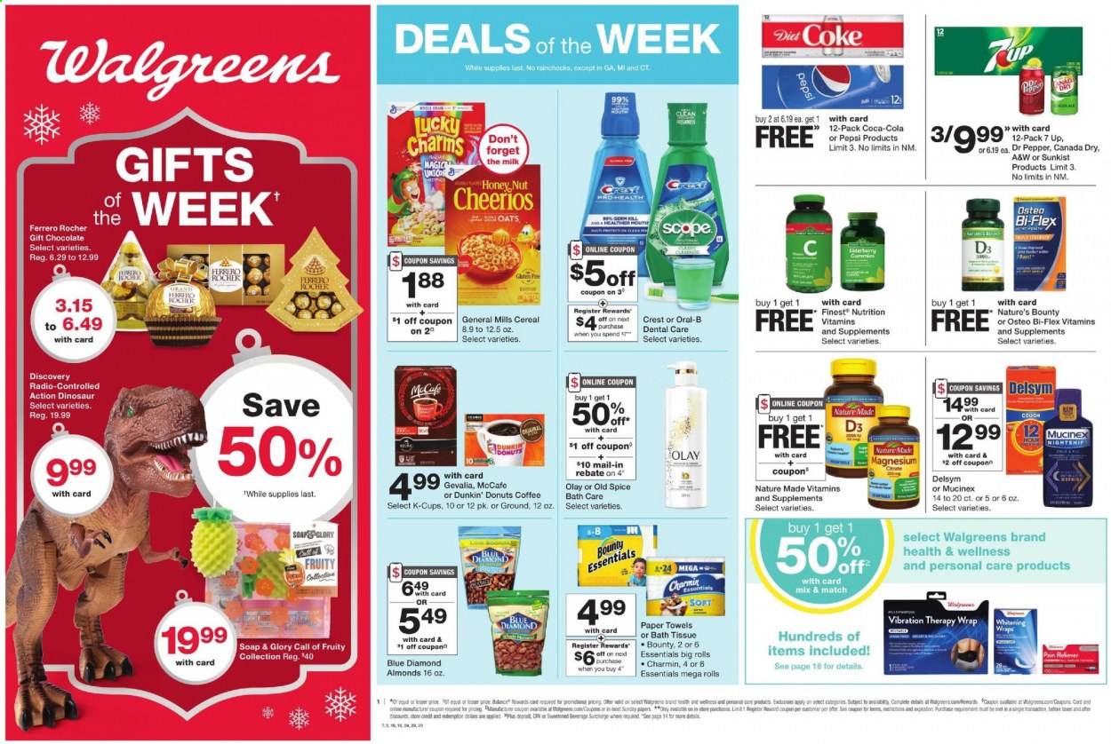 Walgreens Flyer - 11.08.2020 - 11.14.2020 - Sales products - rolls, wrap, charm, milk, chocolate, Ferrero Rocher, Bounty, oats, cereals, Cheerios, almonds, Blue Diamond, Canada Dry, Coca-Cola, Pepsi, Diet Coke, 7UP, A&W, coffee, coffee capsules, McCafe, K-Cups, Gevalia, Dunkin' Donuts, bath tissue, kitchen towels, paper towels, Charmin, Old Spice, soap, Oral-B, Crest, Olay, Delsym, Mucinex, Nature Made, Nature's Bounty, Osteo bi-flex, Bi-Flex, vitamin D3, donut, essentials, 7 Days. Page 1.