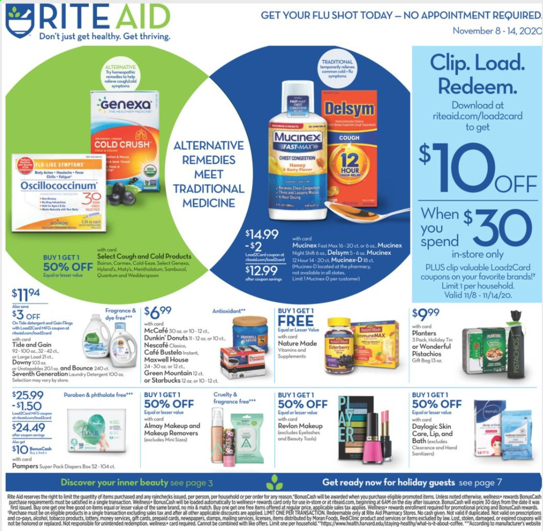 RITE AID Flyer - 11.08.2020 - 11.14.2020 - Sales products - Almay, box, coffee, Delsym, detergent, fragrance, Gain, makeup, Maxwell House, Mucinex, Nature Made, Revlon, starbucks, Tide, Unstopables, honey, Pampers, gift bag, berry, eyelashes, diapers, Nescafé, donut, tools, discover. Page 1.