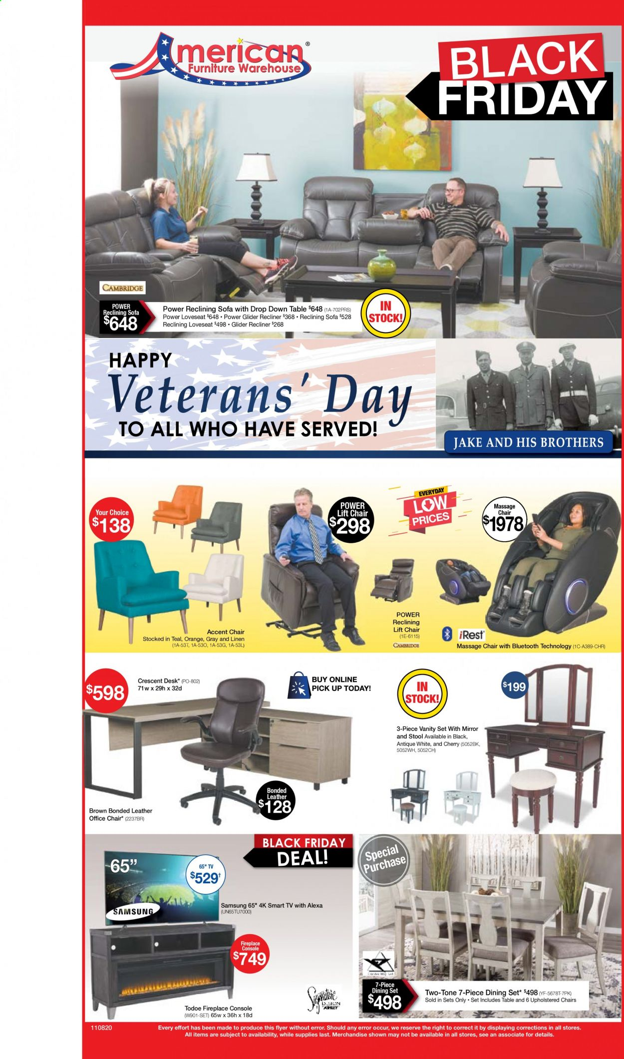 American Furniture Warehouse Flyer - 11.08.2020 - 11.14.2020 - Sales products - accent chair, dining set, fireplace, loveseat, mirror, Samsung, smart tv, sofa, stool, table, vanity, chair, orange, office chair, vanity set. Page 1.
