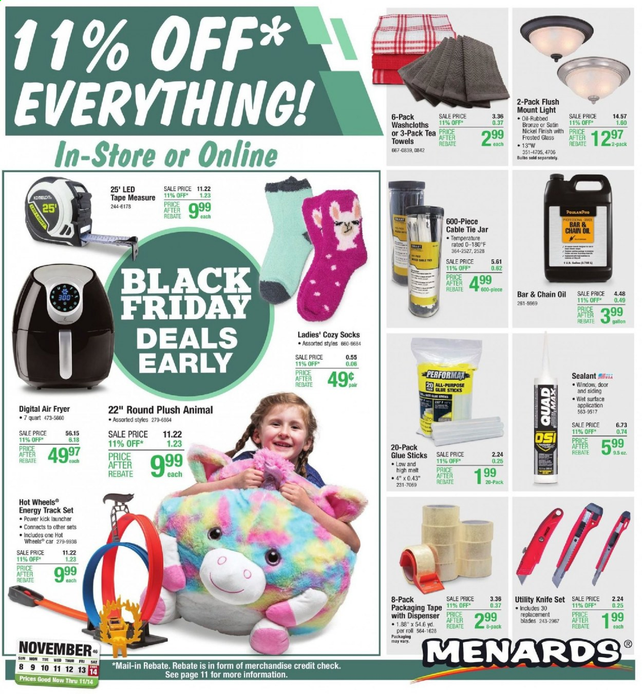 Menards Flyer - 11.08.2020 - 11.14.2020 - Sales products - bulb, cable tie jar, door, fryer, knife, replacement blades, siding, socks, surface, tape, tape measure, tea, tie, towel, jar, air fryer, hot wheels, glue, glue stick, cable, oil, led. Page 1.