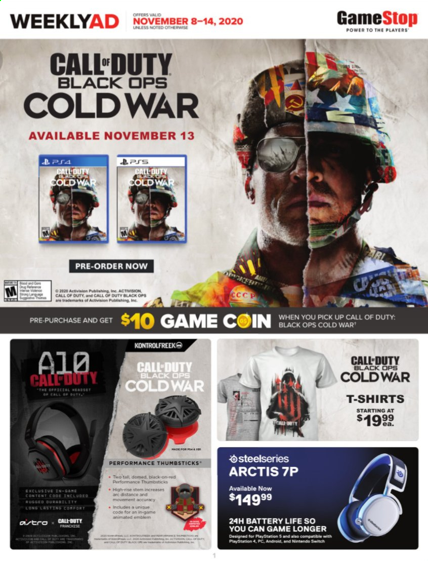 GameStop Flyer - 11.08.2020 - 11.14.2020 - Sales products - android, battery, shirt, switch, playstation, nintendo, game, headset, ps4, nintendo switch, call of duty, call of duty: black ops, playstation 4. Page 1.