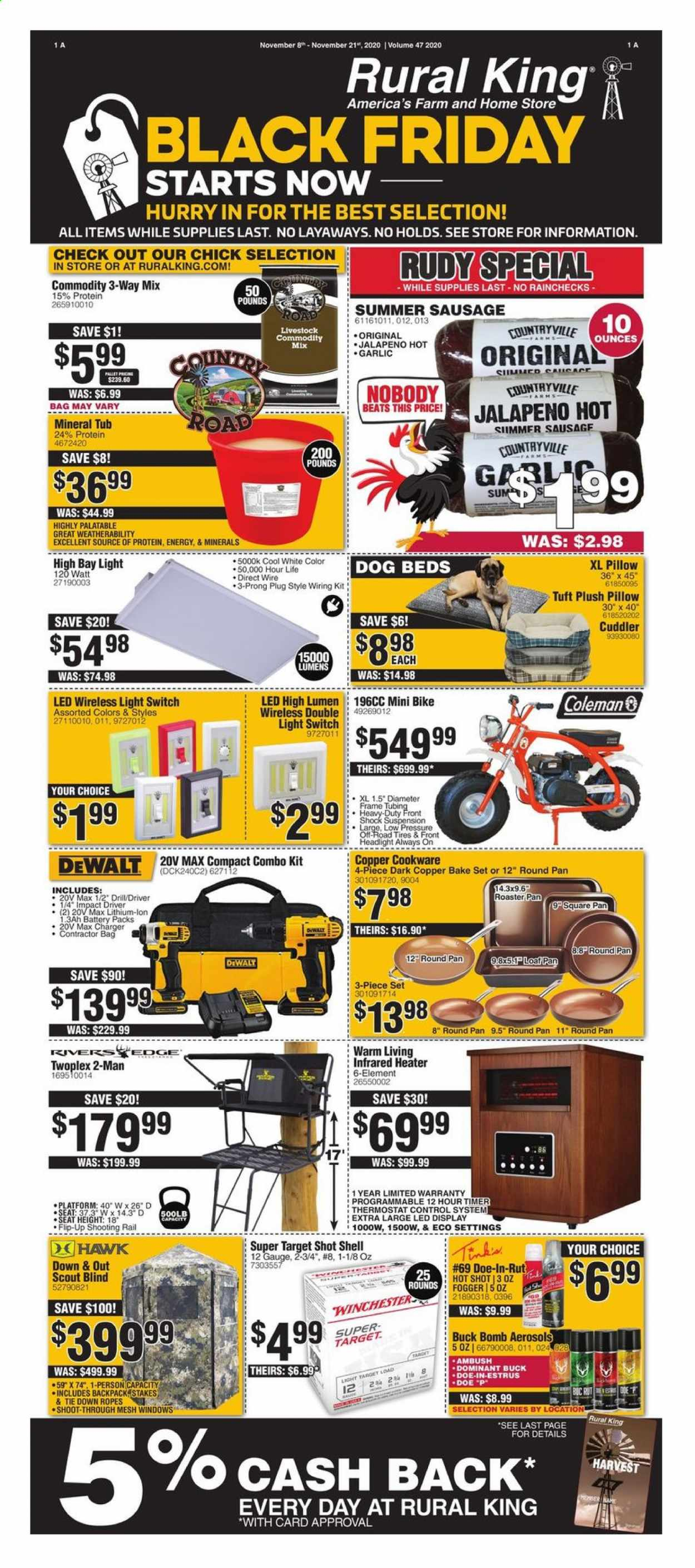 Rural King Flyer - 11.08.2020 - 11.21.2020 - Sales products - Coleman, garlic, jalapeño, cookware set, pan, battery, pillow, dog bed, mineral tub, charger, Beats, roaster, Winchester, backpack, bag, tie, headlamp, switch, heater, DeWALT, drill, impact driver, combo kit, fogger, mini bike, wiring kit, Shell, tires. Page 1.