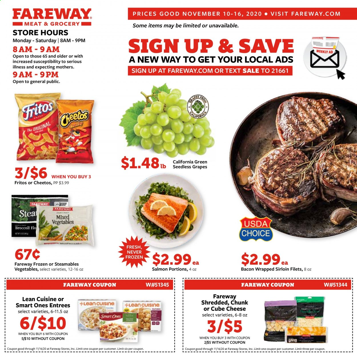 Fareway Flyer - 11.10.2020 - 11.16.2020 - Sales products - bacon, Fritos, frozen, grapes, salmon, seedless grapes, cheetos, cheese, Vegetables, vegetable. Page 1.