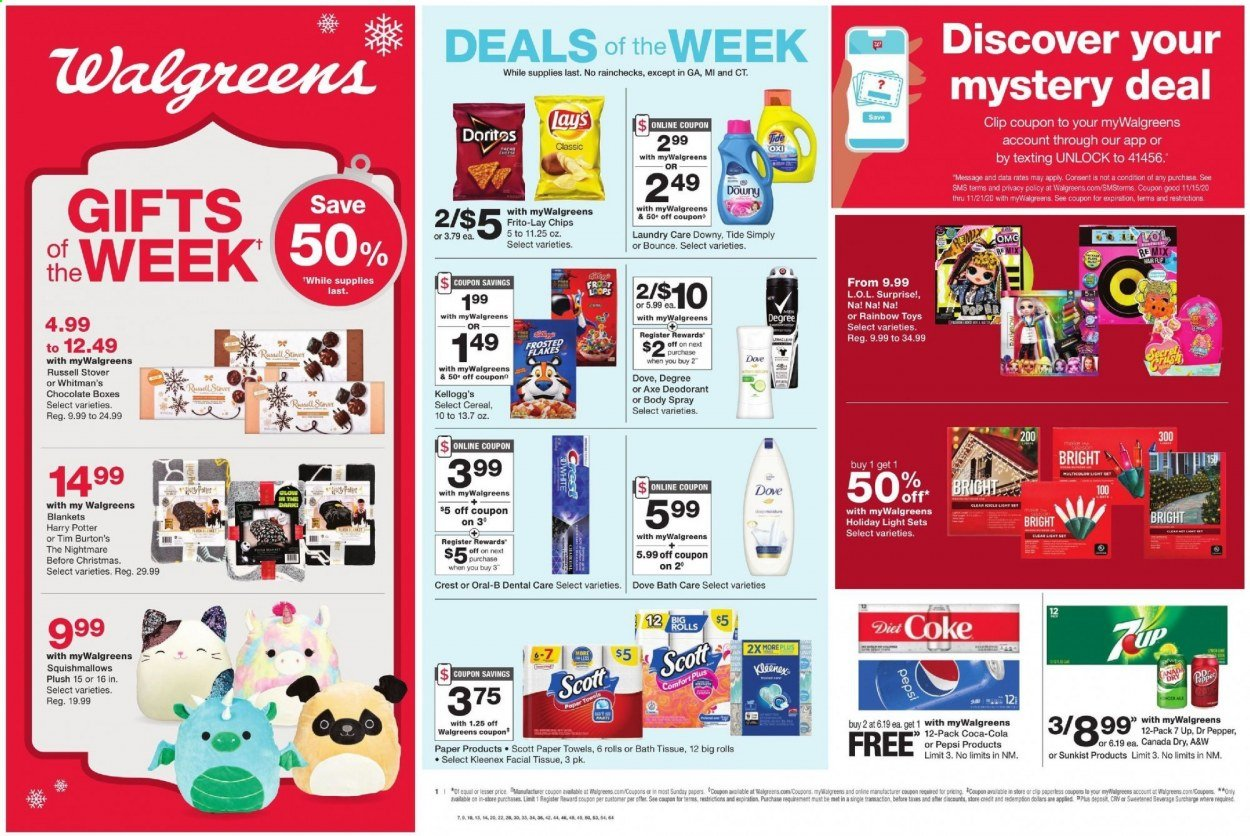 Walgreens Flyer - 11.15.2020 - 11.21.2020 - Sales products - Scott, rolls, cheese, chocolate, Kellogg's, chips, Lay's, Frito-Lay, cereals, Frosted Flakes, Canada Dry, Coca-Cola, Pepsi, Dr. Pepper, Diet Coke, 7UP, A&W, bath tissue, Kleenex, kitchen towels, paper towels, Downy, Tide, Bounce, Axe, Dove, Oral-B, Crest, body spray, anti-perspirant, deodorant, icicle light, L.O.L. Surprise. Page 1.