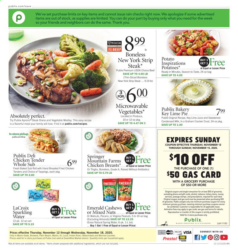 Publix Flyer - 11.12.2020 - 11.18.2020 - Sales products - almonds, beef meat, cashews, spring water, walnuts, potatoes, chicken, chicken breast, peanuts, pecans, steak, juice, pie, Vegetables, sparkling water, salt, cracker, nuts, fried chicken, phone, vegetable, spring. Page 1.
