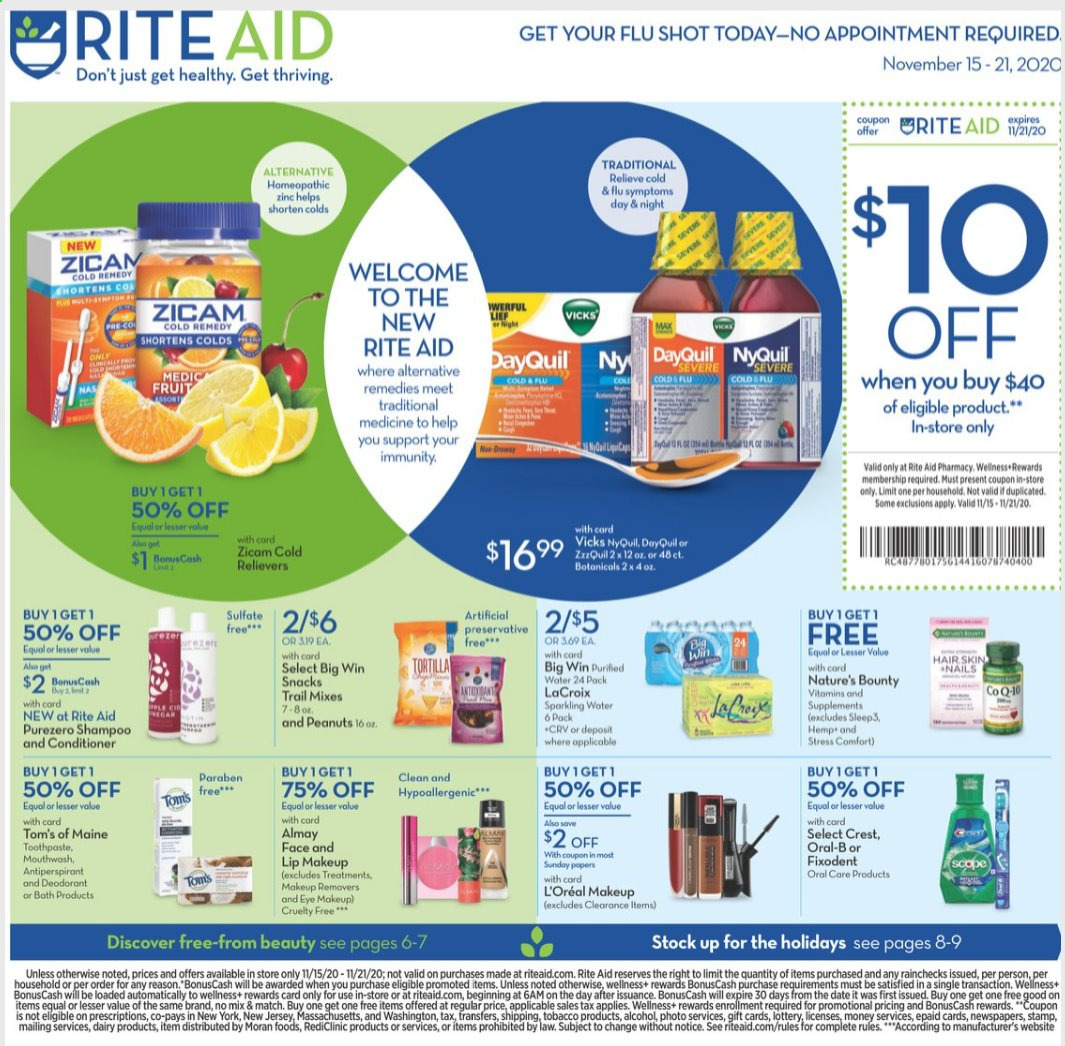 RITE AID Flyer - 11.15.2020 - 11.21.2020 - Sales products - Bounty, snack, peanuts, water, shampoo, Oral-B, toothpaste, mouthwash, Fixodent, Almay, L'Oréal, conditioner, anti-perspirant, makeup, DayQuil, Cold & Flu, Nature's Bounty, NyQuil, zinc. Page 1.