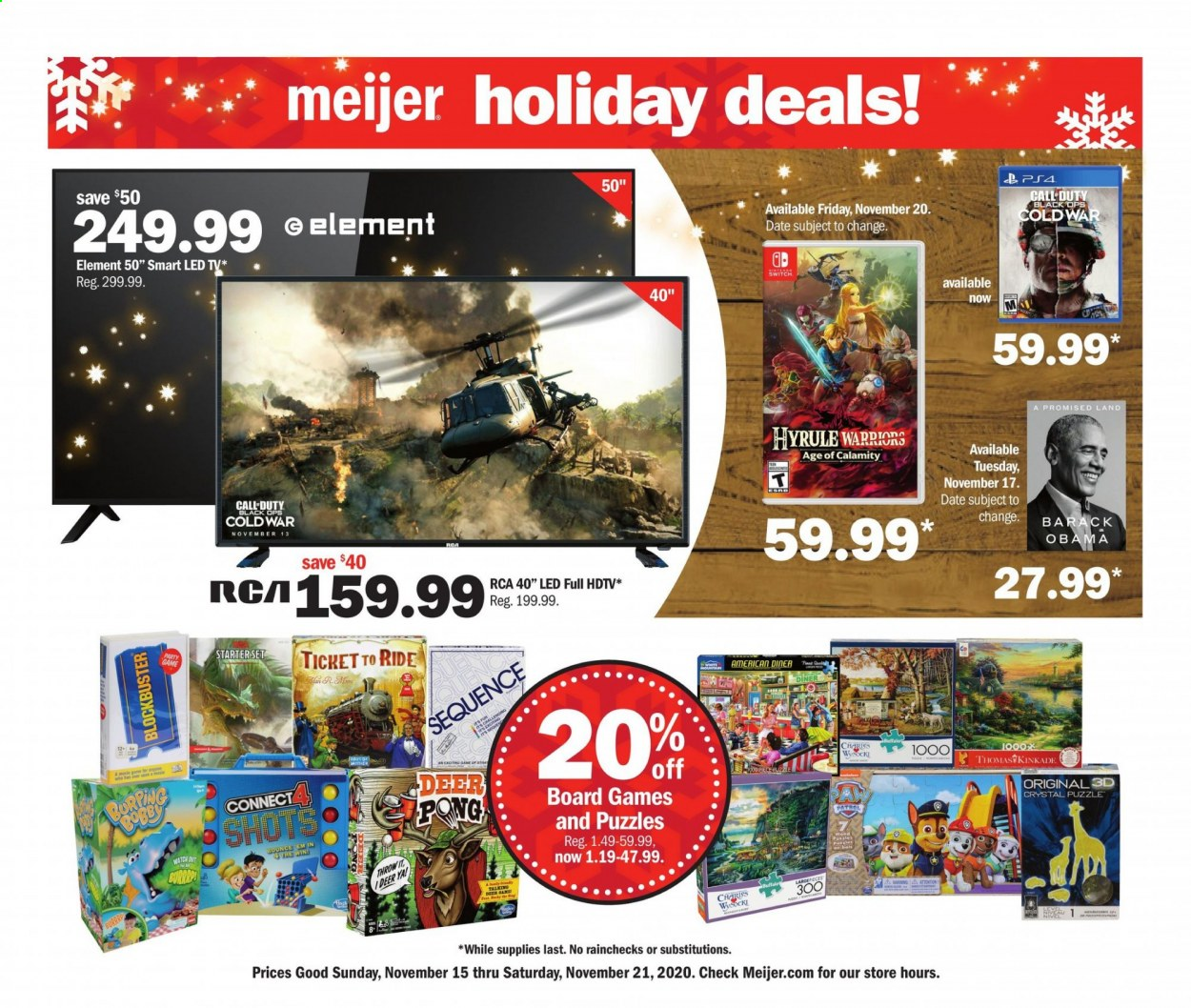 Meijer Flyer - 11.15.2020 - 11.21.2020 - Sales products - deer, LED TV, rca, switch, hdtv, puzzle, Game, board game, led, ticket to ride. Page 1.