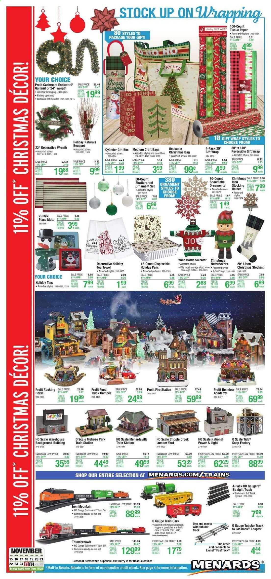 Menards Flyer - 11.15.2020 - 11.25.2020 - Sales products - bag, garland, LED light, reindeer, snowflake, sweater, tea, Tide, truck, wreath, Holder, christmas decor, iron, ornament, gift box, gift wrap, scale, wine, train, craft, led. Page 1.