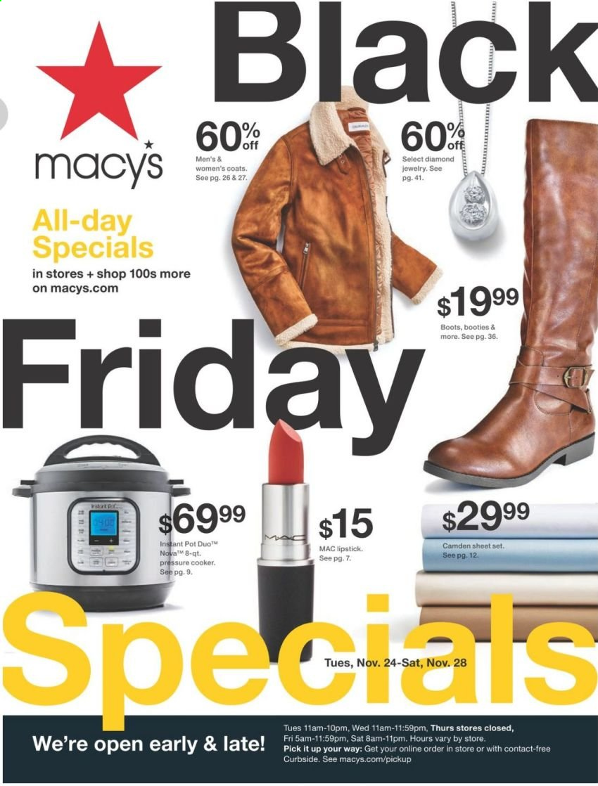 Macy's Flyer - 11.24.2020 - 11.28.2020 - Sales products - boots, coat, lipstick, sheet, sheet set, pot, pressure cooker, Instant Pot. Page 1.