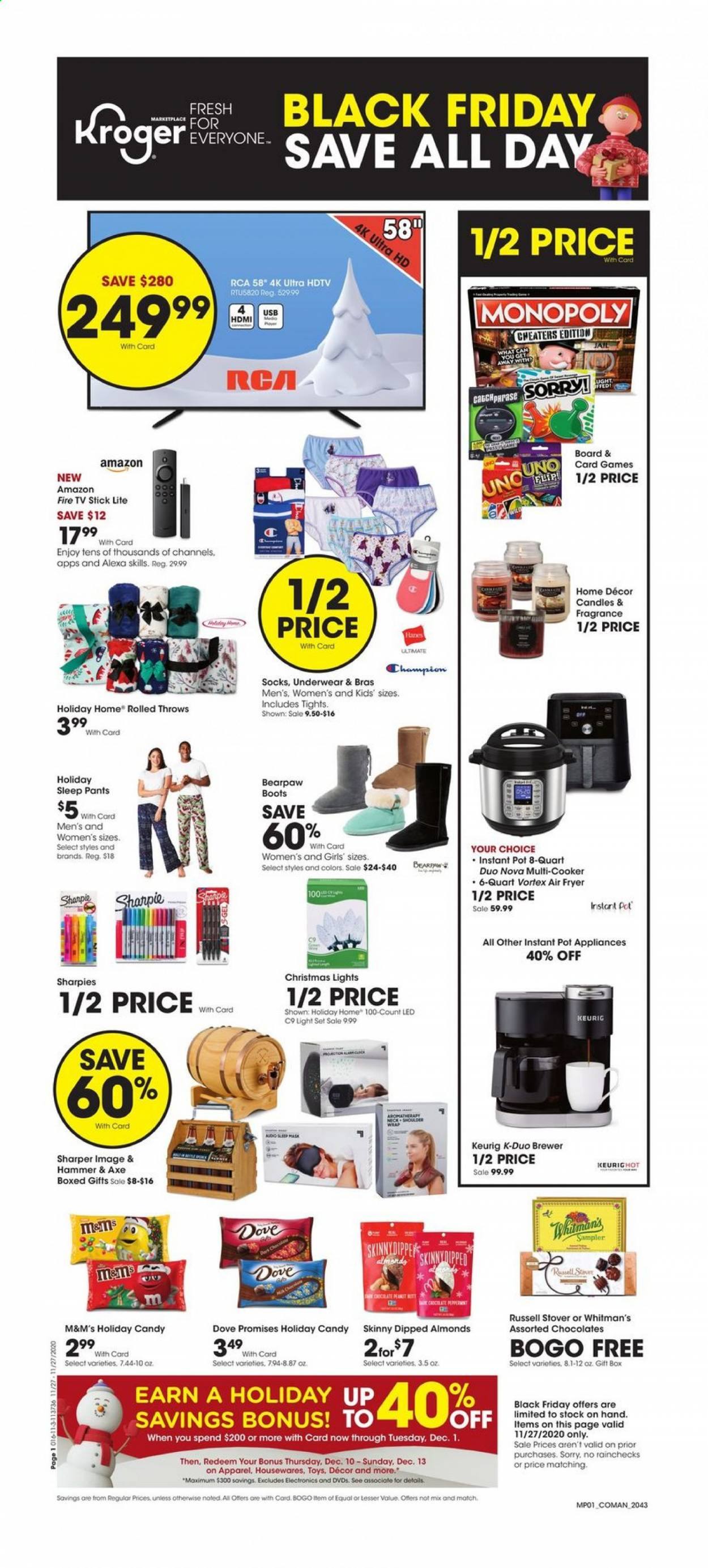 Kroger Flyer - 11.27.2020 - 11.27.2020 - Sales products - brewer, Amazon Fire, light set, wrap, candy, M&M's, almonds, Dove, fragrance, pot, gift box, candle, rca, UHD TV, ultra hd, HDTV, TV, fryer, air fryer, Instant Pot, mask, monopoly, toys, Axe, hammer, VORTEX. Page 1.