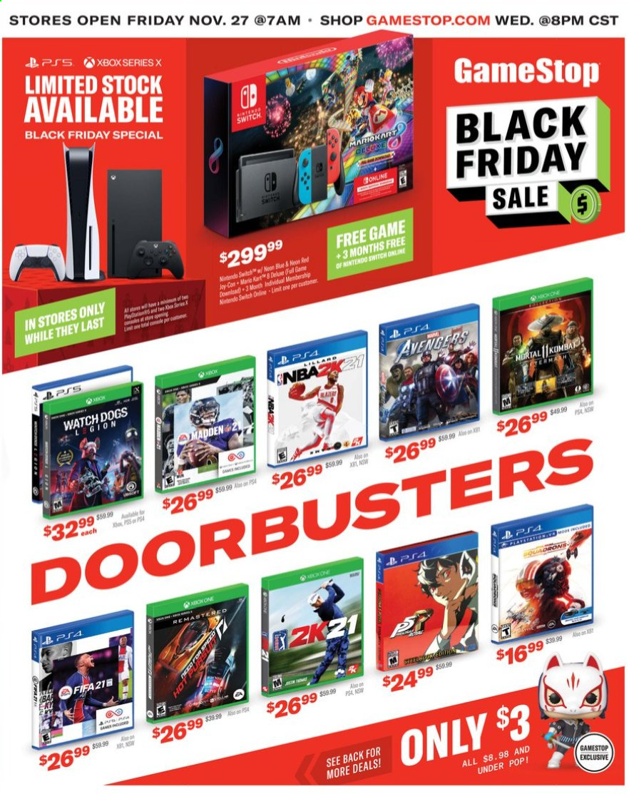 GameStop Flyer - 11.26.2020 - 11.29.2020 - Sales products - switch, watch, Game, nintendo switch, Xbox, Avengers. Page 1.