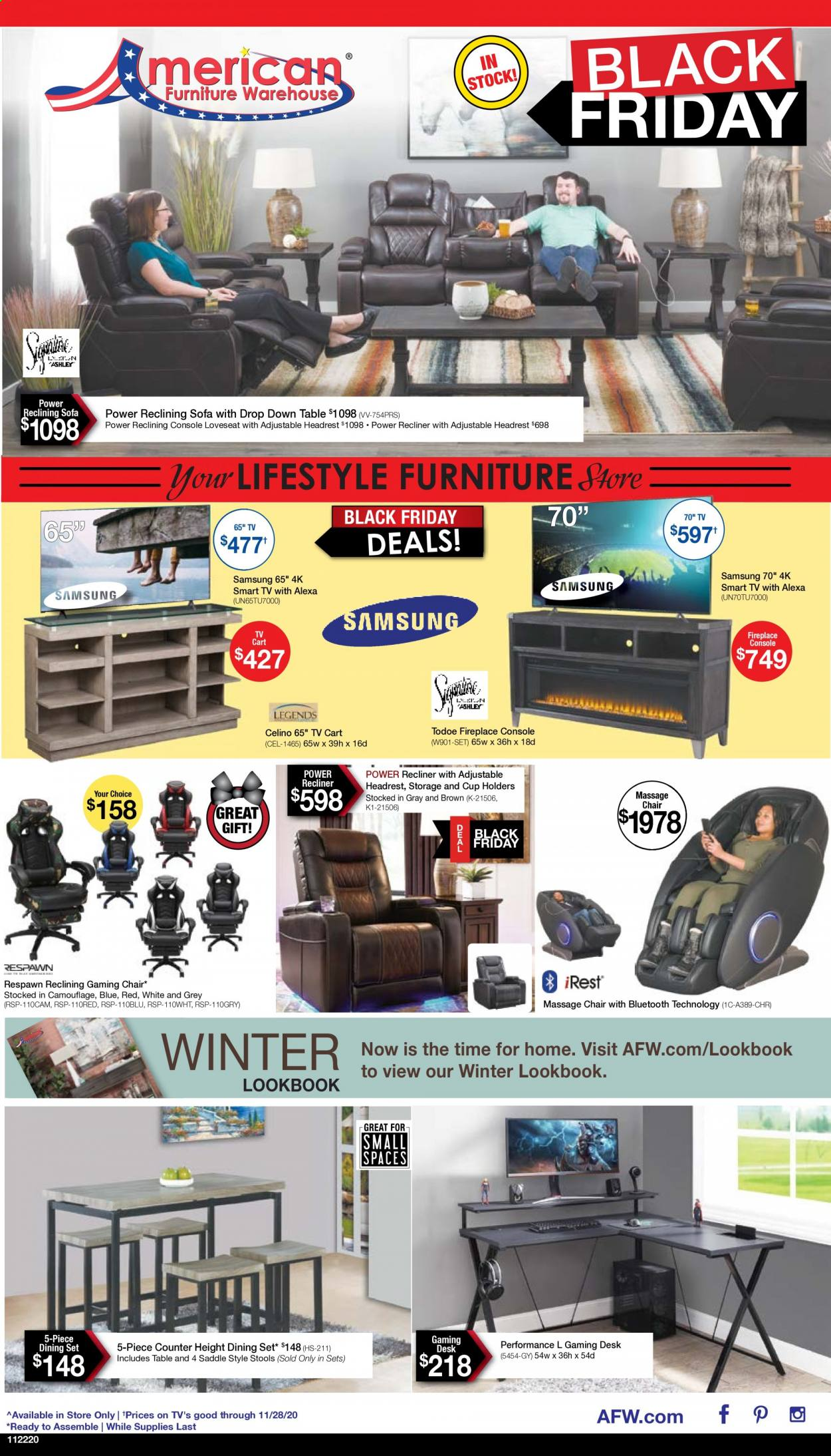 American Furniture Warehouse Flyer - 11.22.2020 - 11.28.2020 - Sales products - cart, dining set, fireplace, Furniture, loveseat, Samsung, smart tv, sofa, table, chair, gaming chair. Page 1.