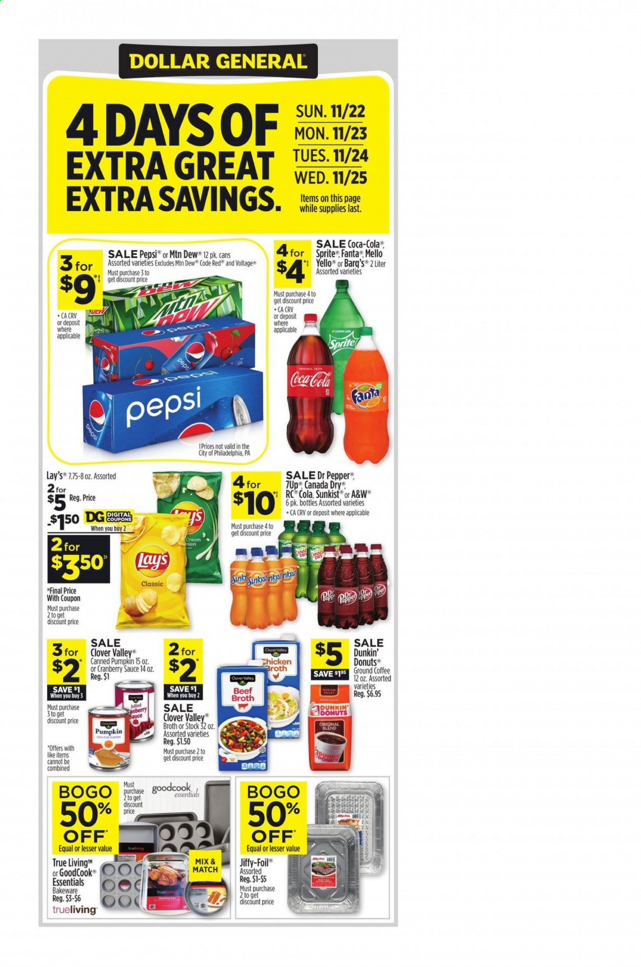 Dollar General Flyer - 11.22.2020 - 11.28.2020 - Sales products - beef broth, beef meat, Canada Dry, coca-cola, coffee, cranberry sauce, Sprite, philadelphia, pumpkin, chicken, Pepsi, pepper, fanta, Lay's, sauce, Dr. Pepper, lemon, cream, donut, ground coffee, essentials. Page 1.
