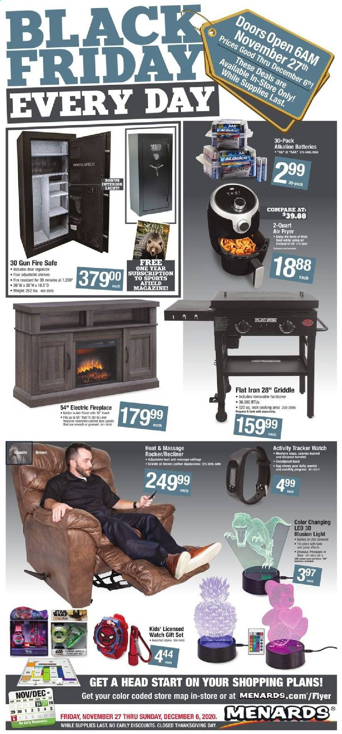 Menards Flyer - 11.27.2020 - 12.06.2020 - Sales products - activity tracker, battery, cabinet, door, fireplace, fryer, gift set, shelf, shelves, watch, gun, hairstyling iron, iron, pineapple, air fryer, electric fireplace, dinosaur, rocker, oil, USB, led. Page 1.