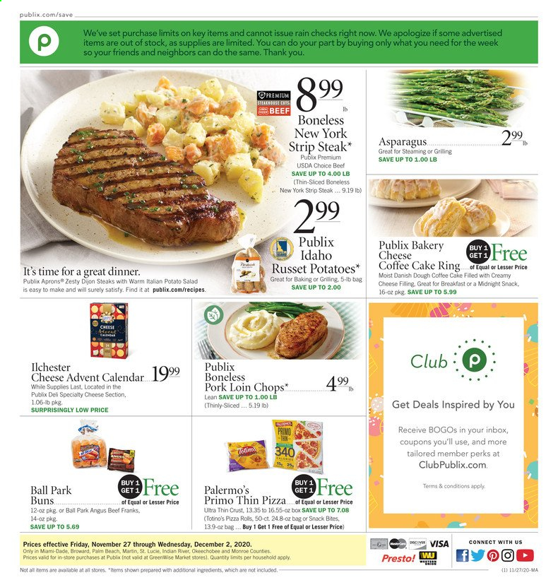 Publix Flyer - 11.27.2020 - 12.02.2020 - Sales products - asparagus, beef meat, box, calendar, coffee, russet potatoes, pizza, pork loin, pork meat, potatoes, steak, cheese, cake, snack, pizza rolls, salad, ball. Page 1.