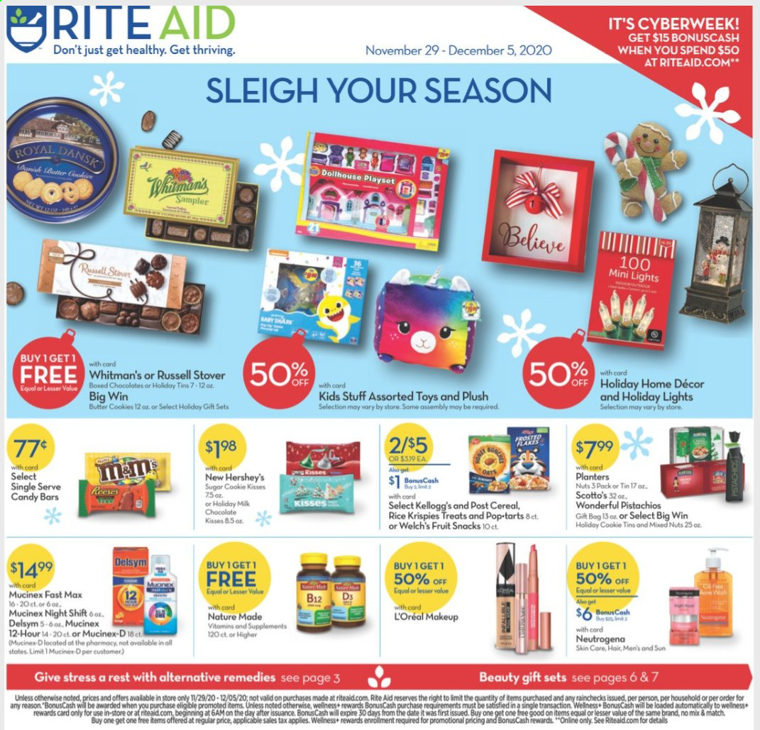 RITE AID Flyer - 11.29.2020 - 12.05.2020 - Sales products - b12, cereals, cookies, Delsym, L'Oréal, makeup, milk chocolate, Mucinex, Nature Made, Neutrogena, rice, play set, chocolate, toys, candy, butter cookies, snack, nuts, Fruit. Page 1.