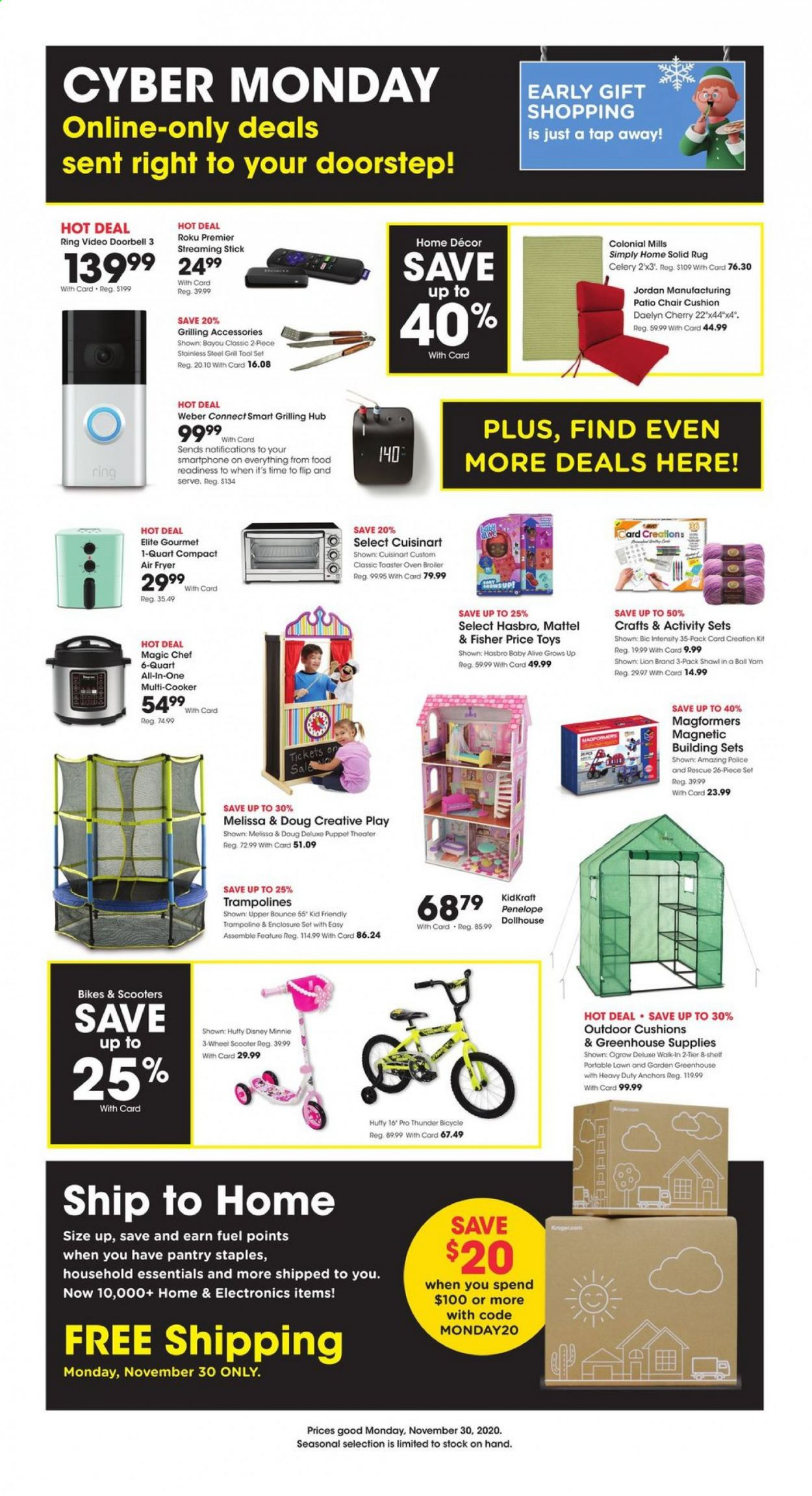Baker's Flyer - 11.30.2020 - 11.30.2020 - Sales products - BIC, bike, celery, cushion, Disney, doorbell, fryer, fuel, greenhouse, grill, Mattel, rug, scooter, shelf, solid, trampoline, weber, chair, Patio, oven, hasbro, toys, air fryer, toaster, minnie, smartphone, tool set, all-in-one, Jordan, tools, disney minnie, essentials, heavy duty, KidKraft, Magformers. Page 1.